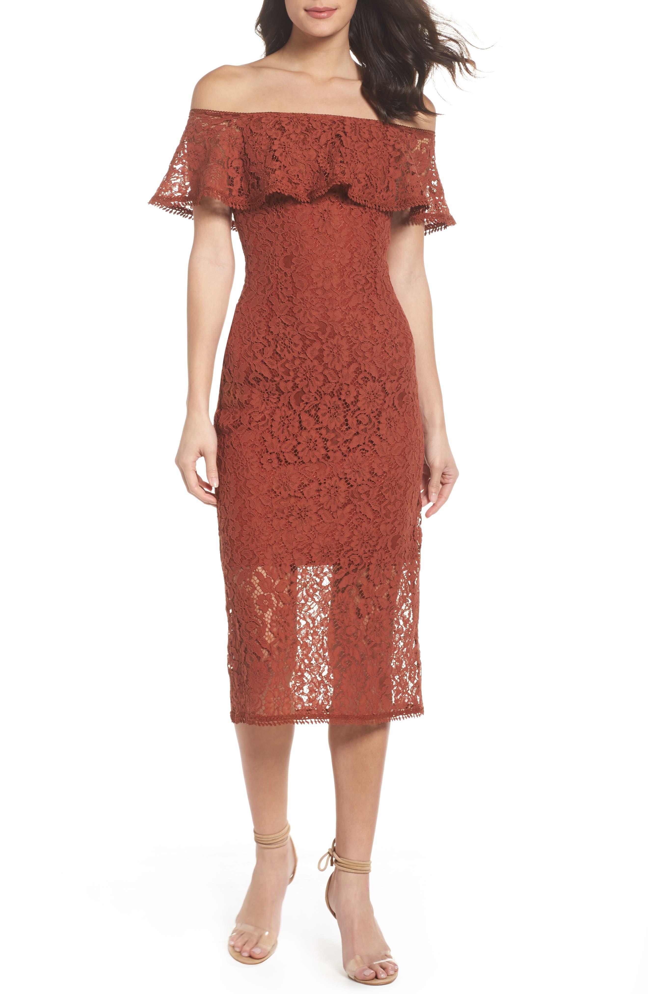 Lace Off the Shoulder Midi Dress,                             Main thumbnail 1, color,                             Cinnabar