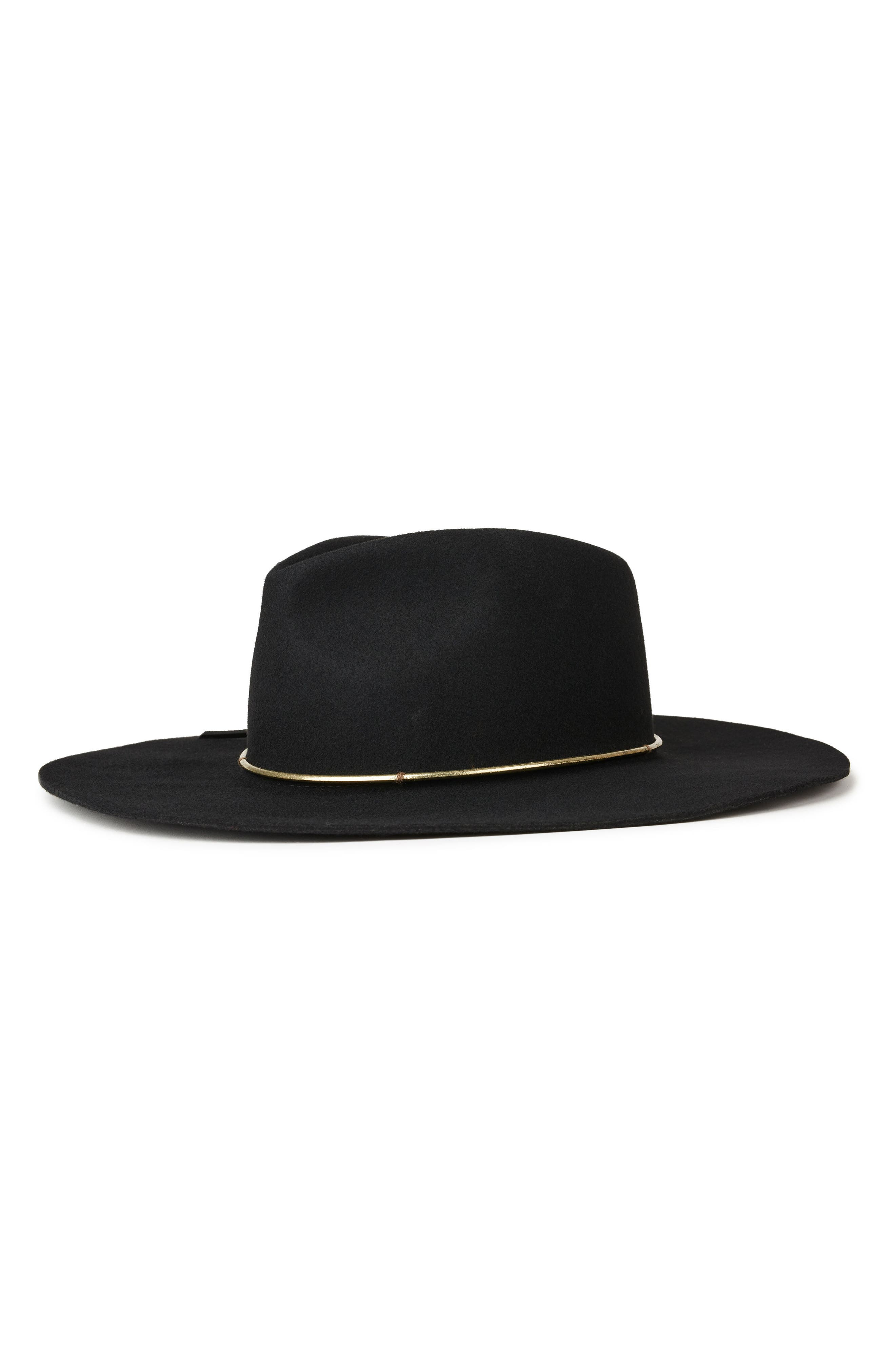 Irene Felted Wool Fedora,                         Main,                         color, Black