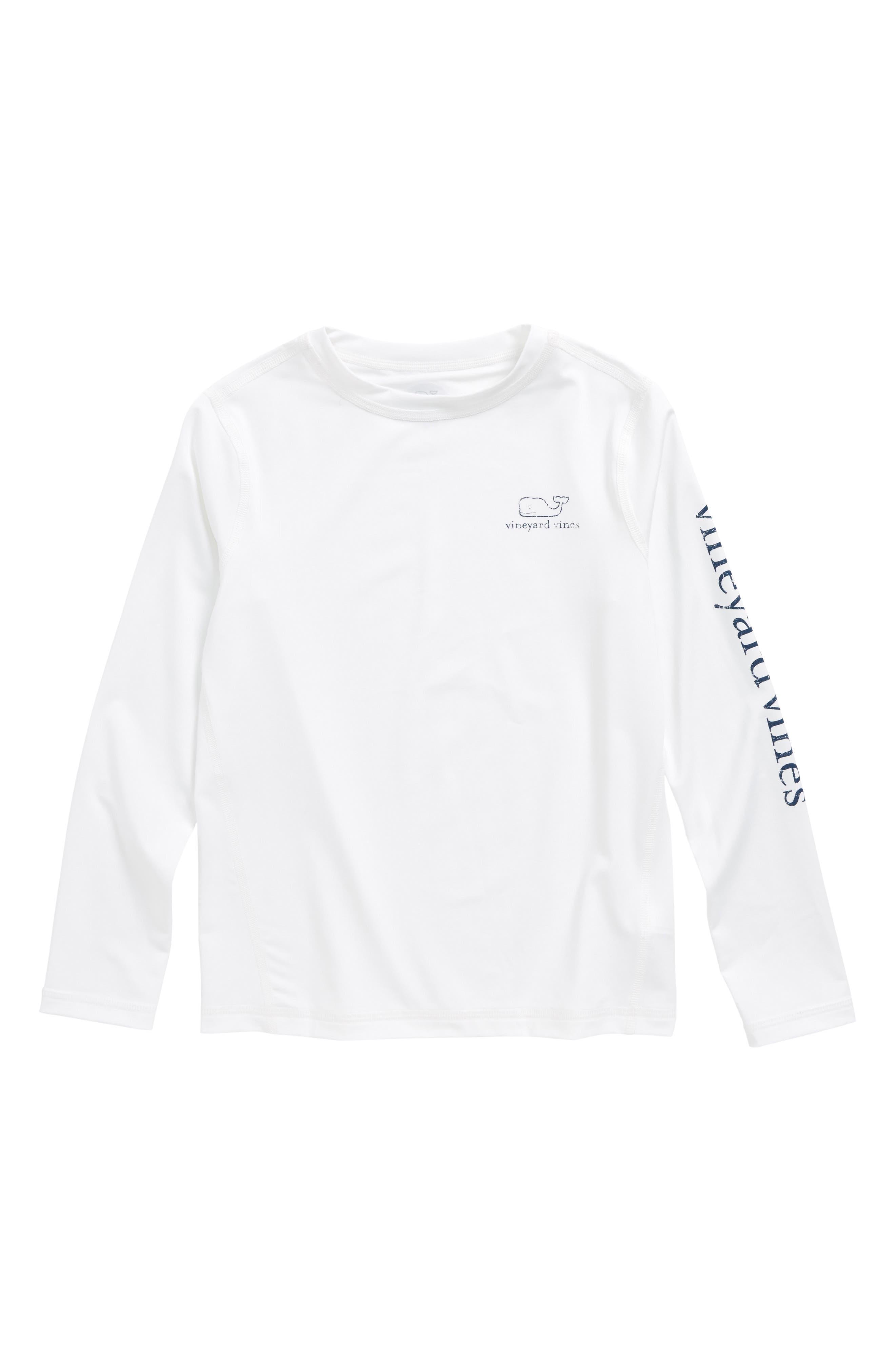 Long Sleeve Rashguard Top,                         Main,                         color, White Cap