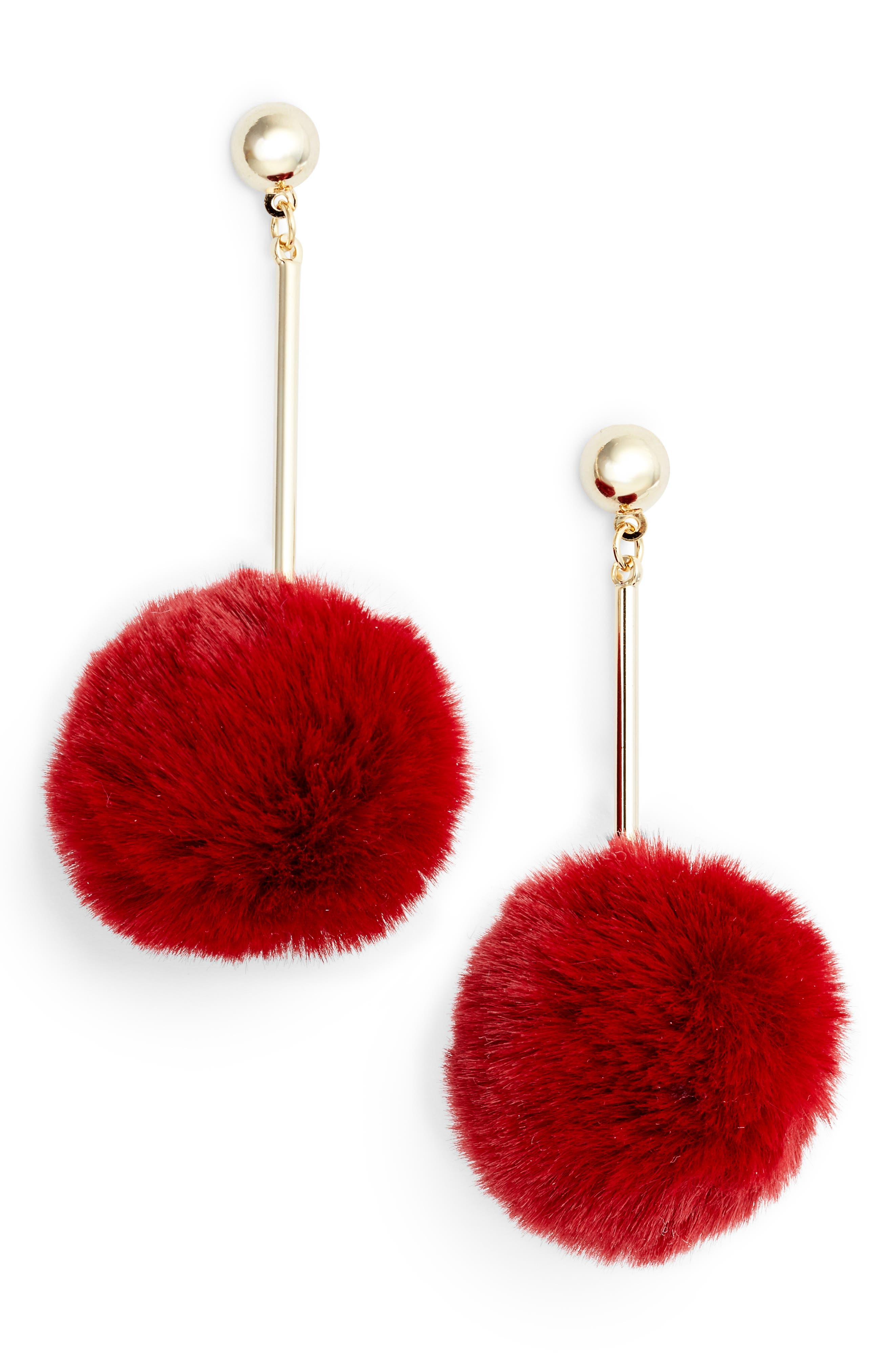 Tasha Faux Fur Pompom Drop Earrings