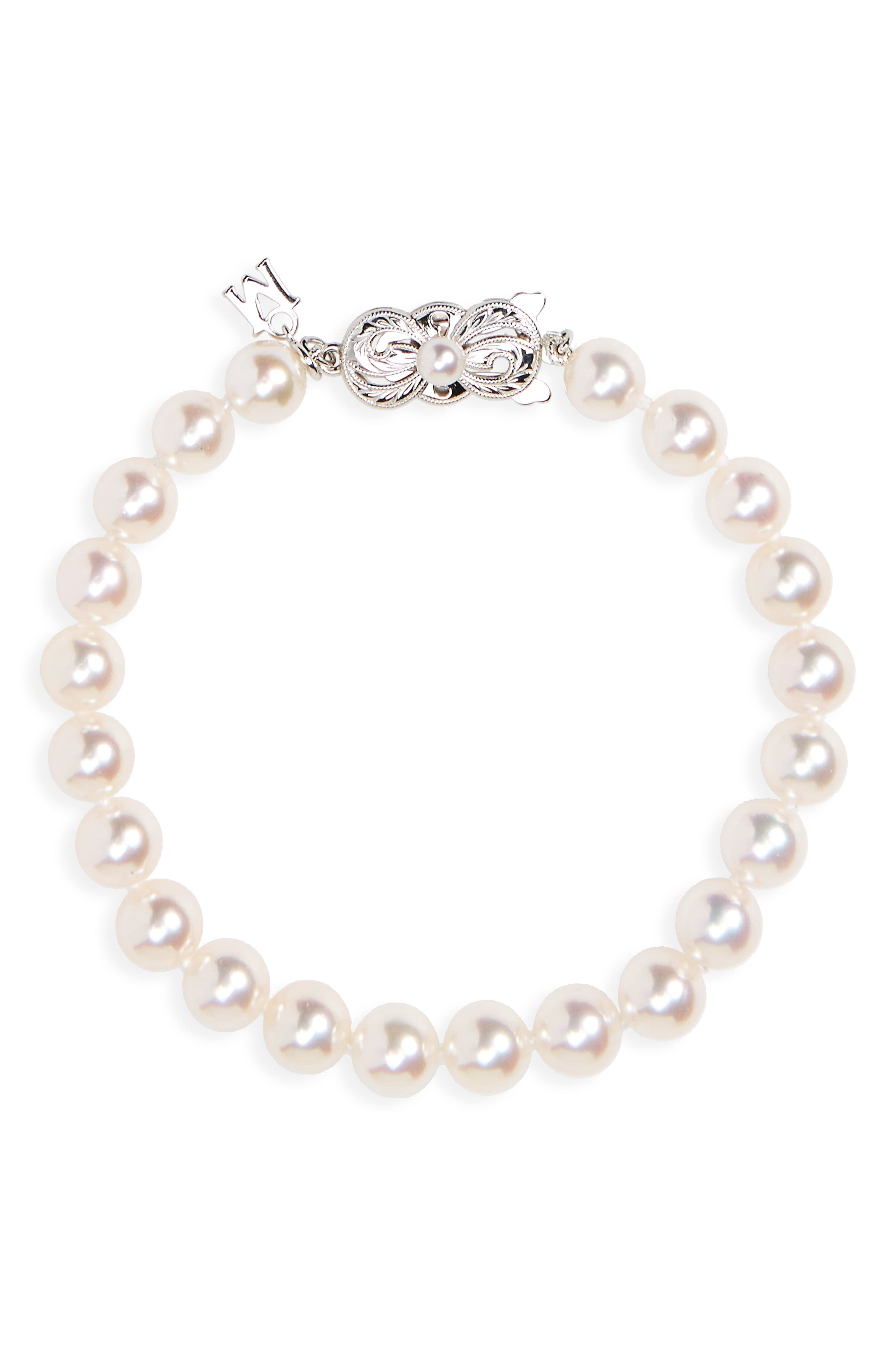 Every Essentials Cultured Pearl Bracelet,                             Main thumbnail 1, color,                             White Gold