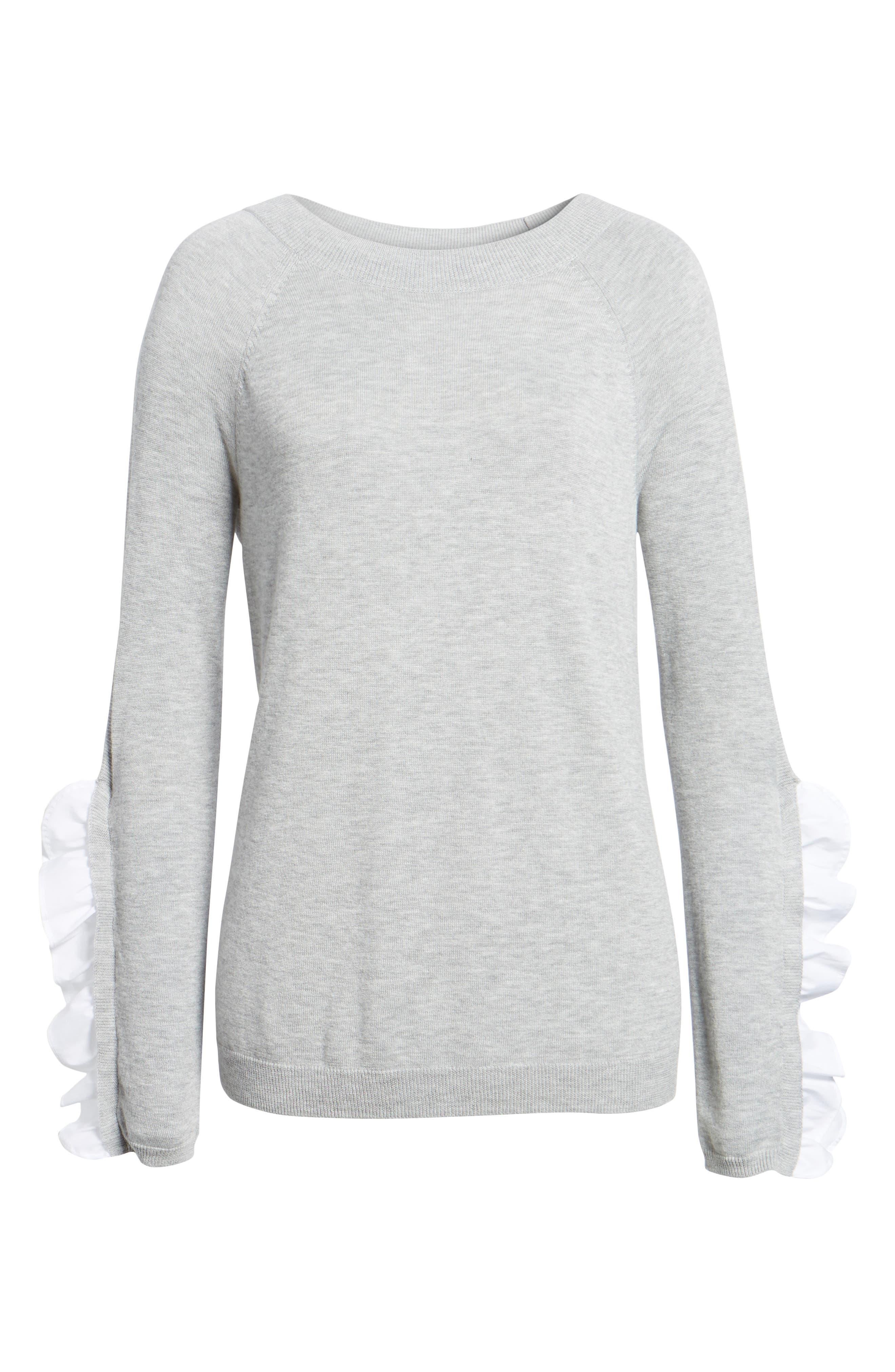 Ruffle Sleeve Sweater,                             Alternate thumbnail 6, color,                             Grey Heather