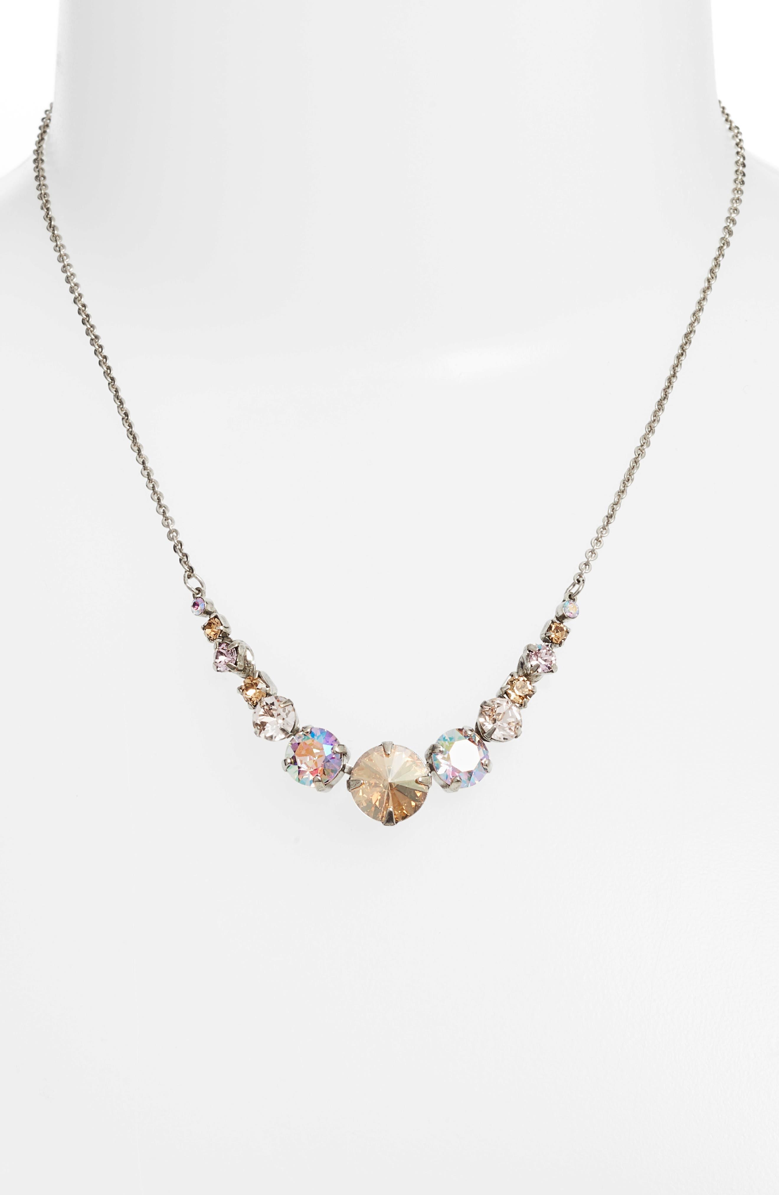 Crystal Collar Necklace,                             Alternate thumbnail 2, color,                             Tan