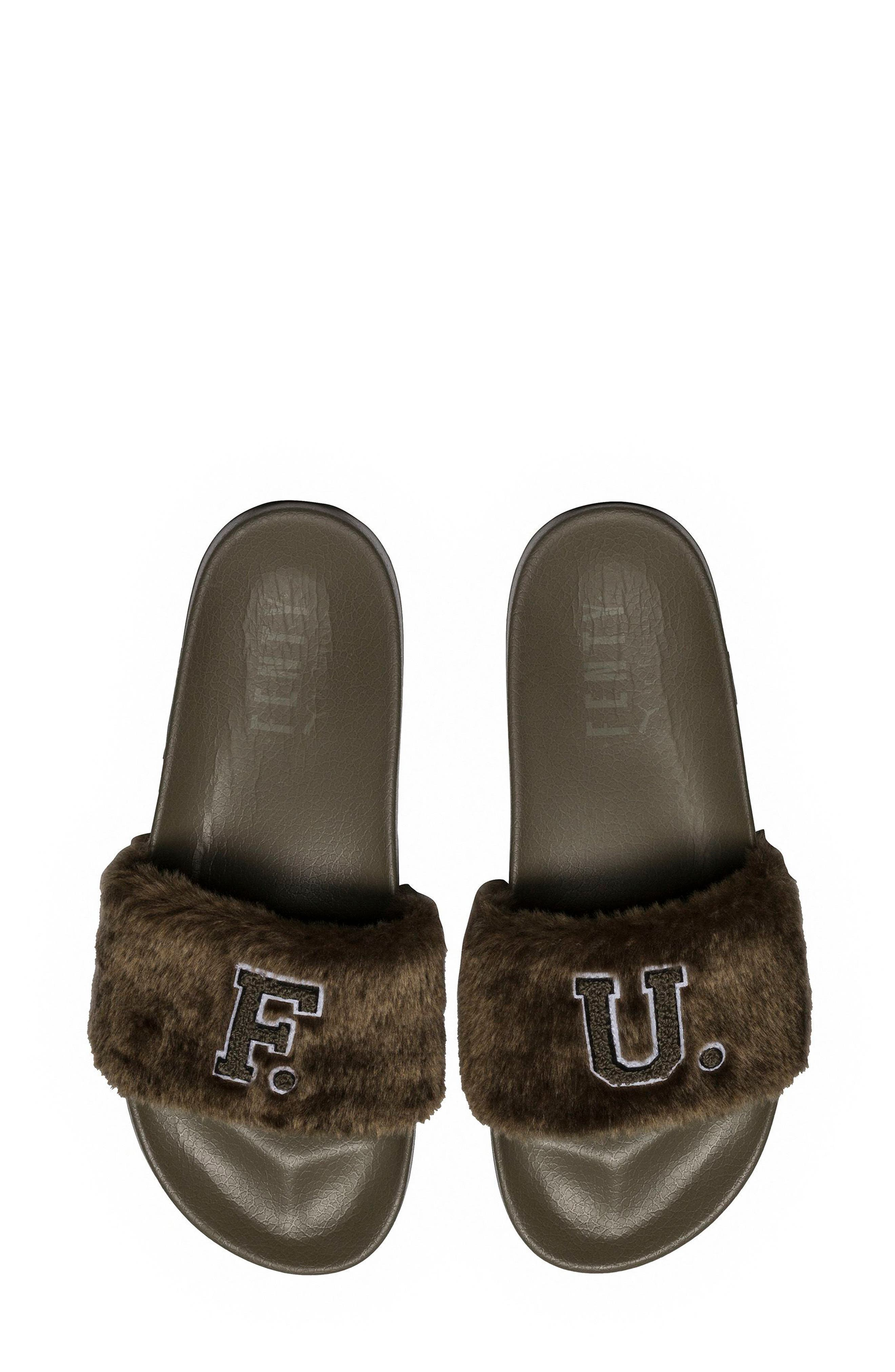 FENTY PUMA by Rihanna Lead Cat Slide Sandals,                             Main thumbnail 1, color,                             Burnt Olive - Puma Black