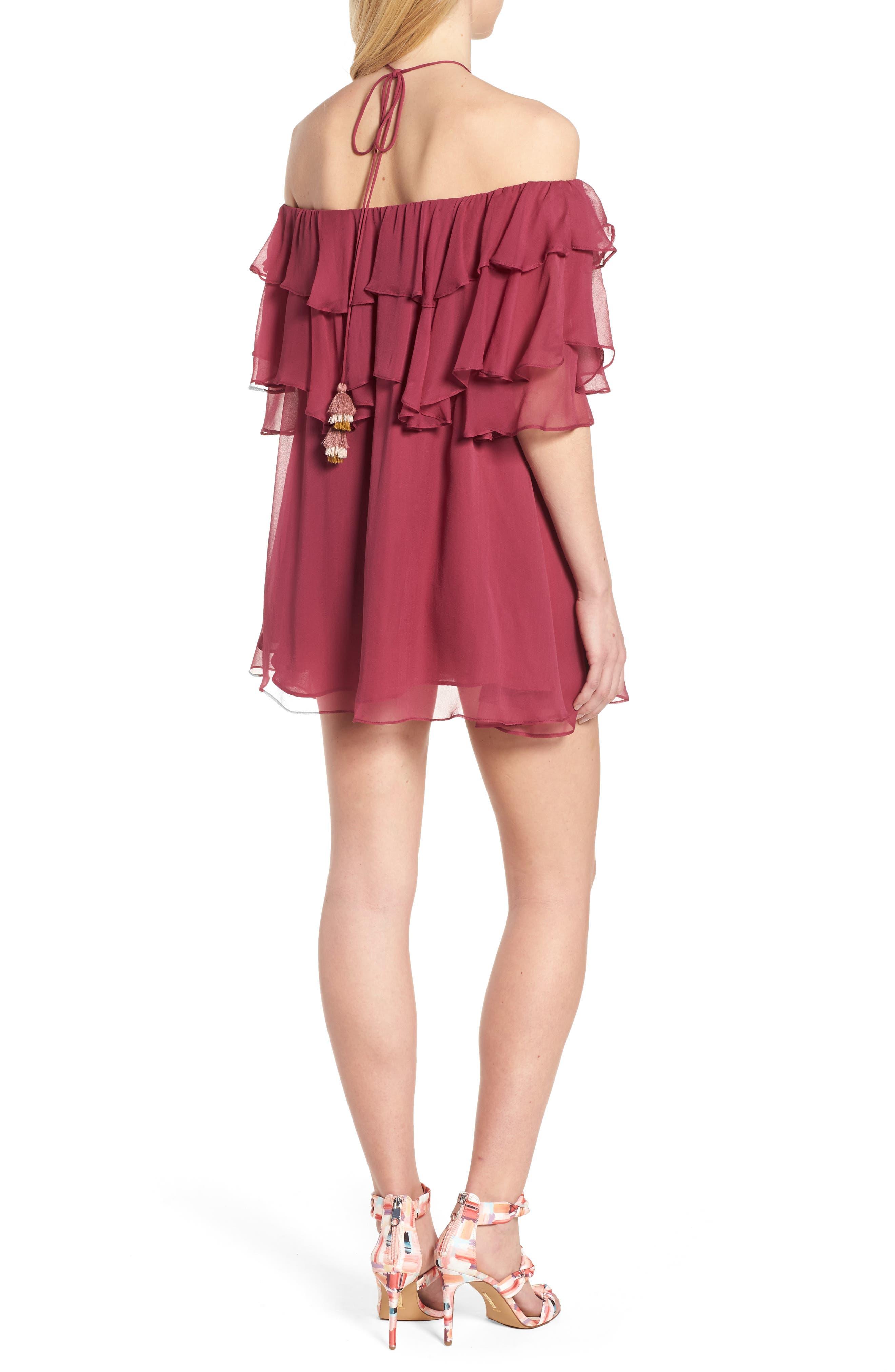Dena Off the Shoulder Shift Dress,                             Alternate thumbnail 2, color,                             Raspberry