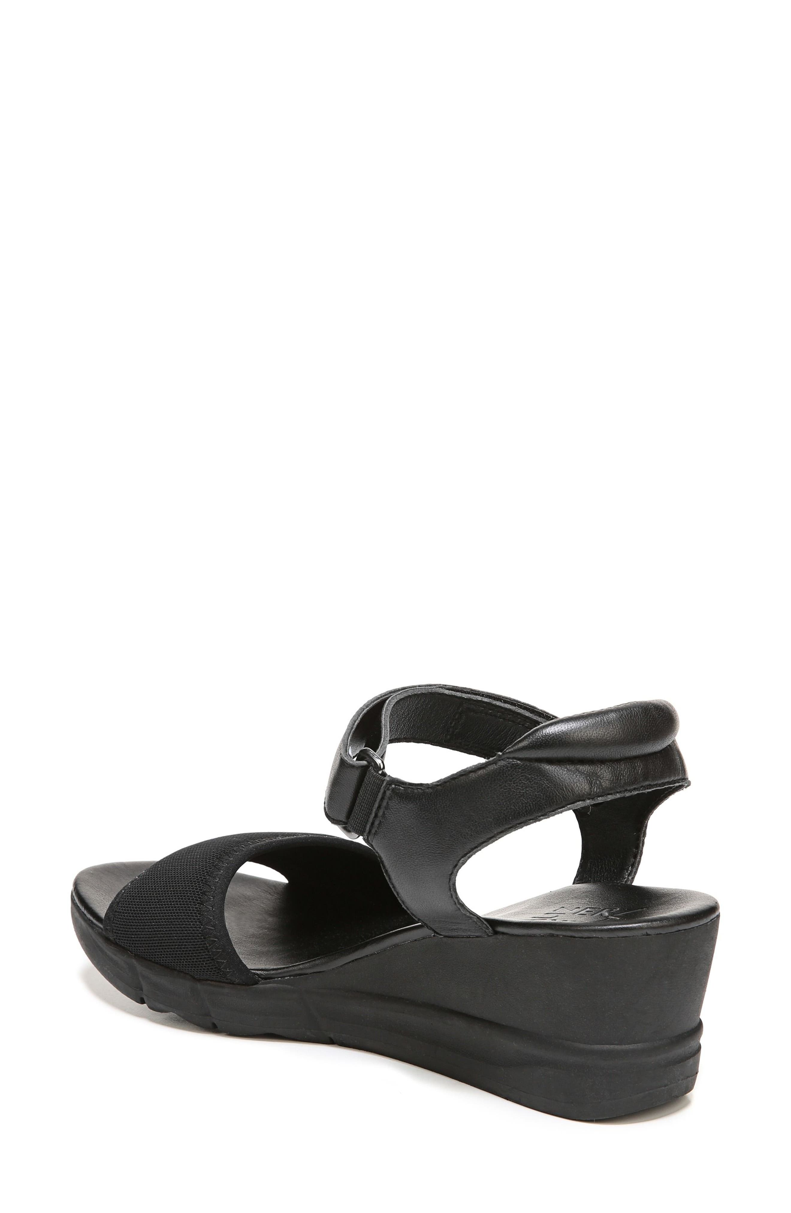 Irena Wedge Sandal,                             Alternate thumbnail 2, color,                             Black Leather
