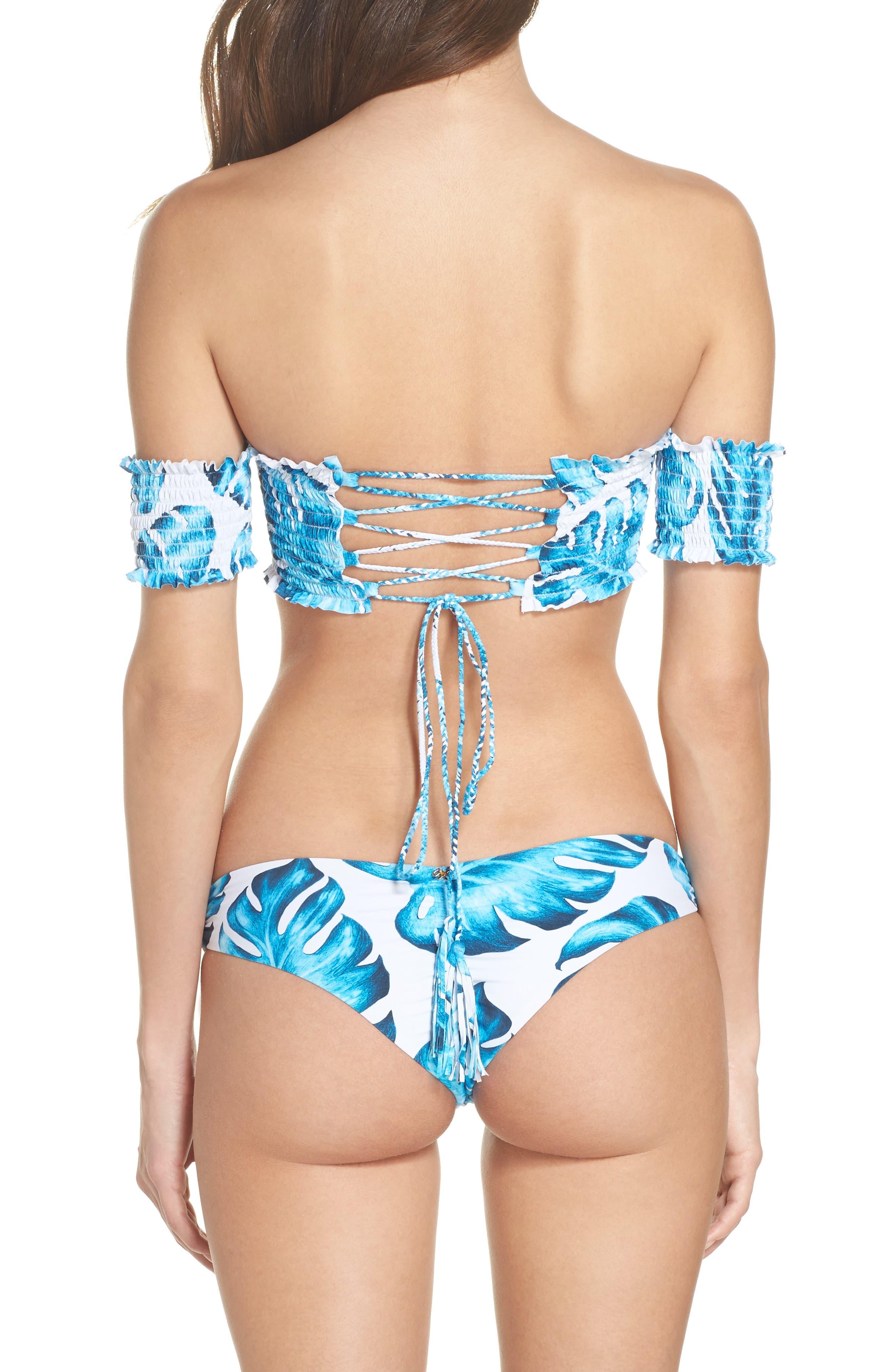 Alternate Image 6  - PilyQ Smocked Off the Shoulder Bikini Top