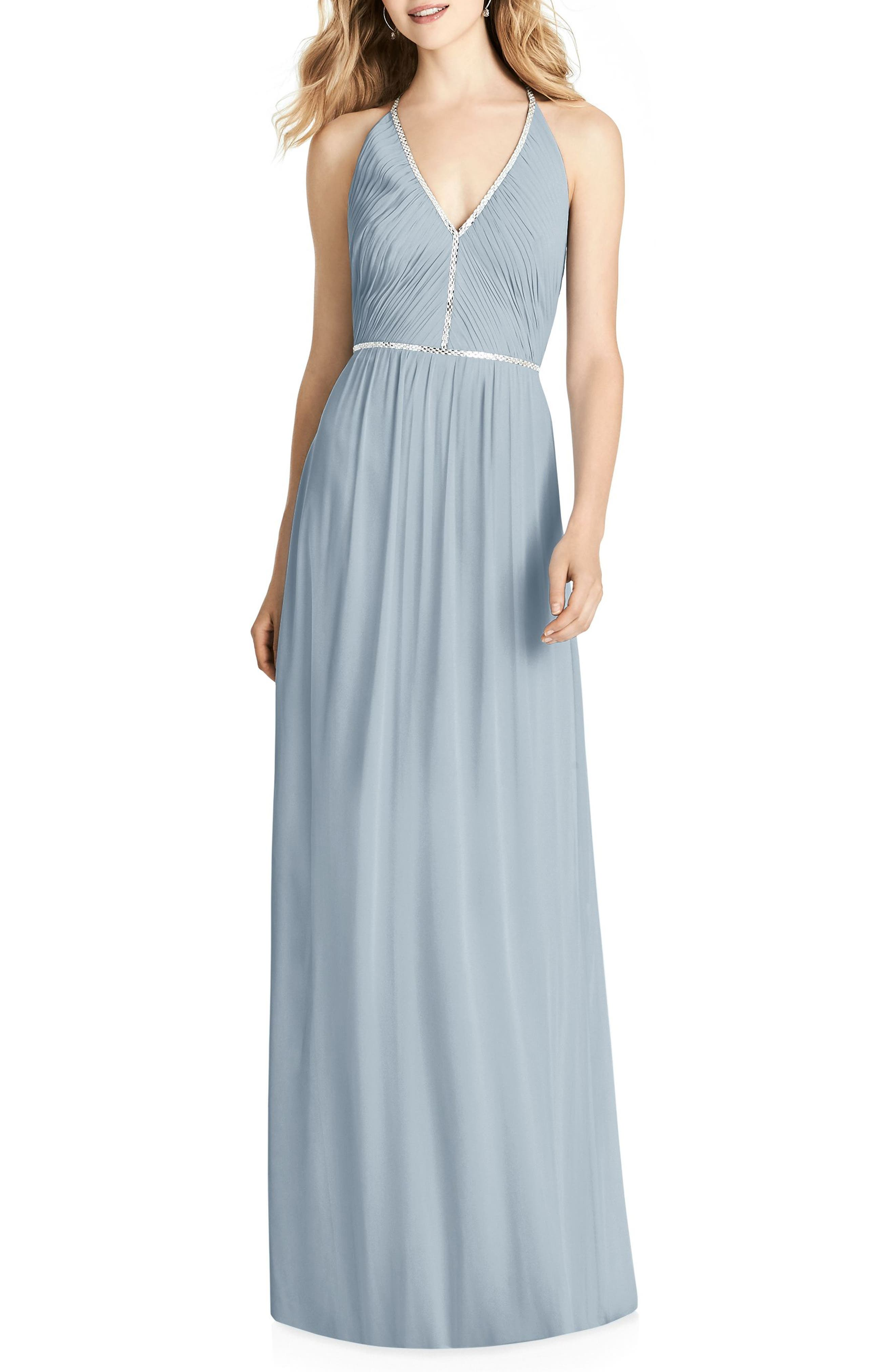Pleated Bodice Chiffon Gown,                         Main,                         color, Mist