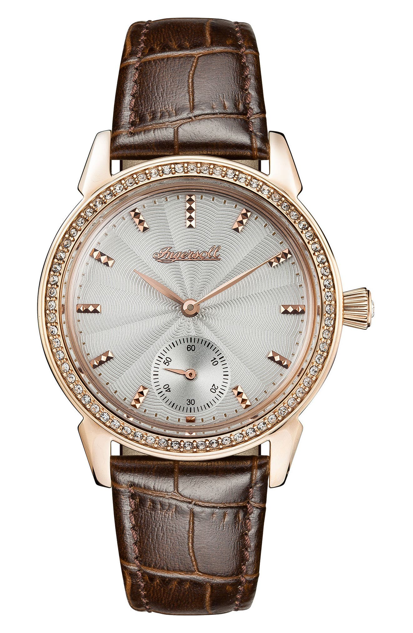 Ingersoll Crystal Accent Leather Strap Watch, 34mm,                             Main thumbnail 1, color,                             Brown/ Grey/ Rose Gold