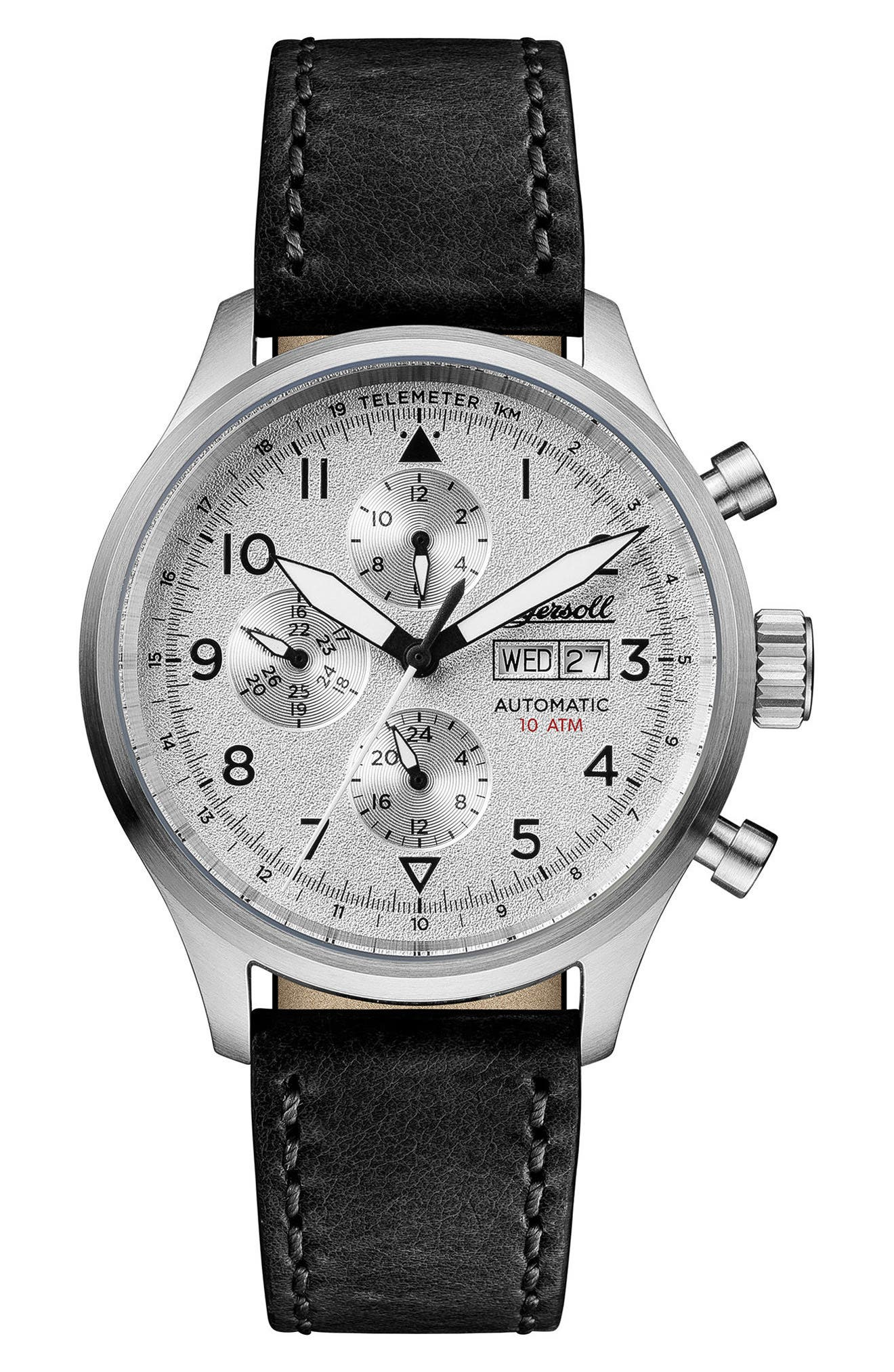 Ingersoll Bateman Automatic Multifunction Leather Strap Watch, 45mm,                             Main thumbnail 1, color,                             Black/ Silver