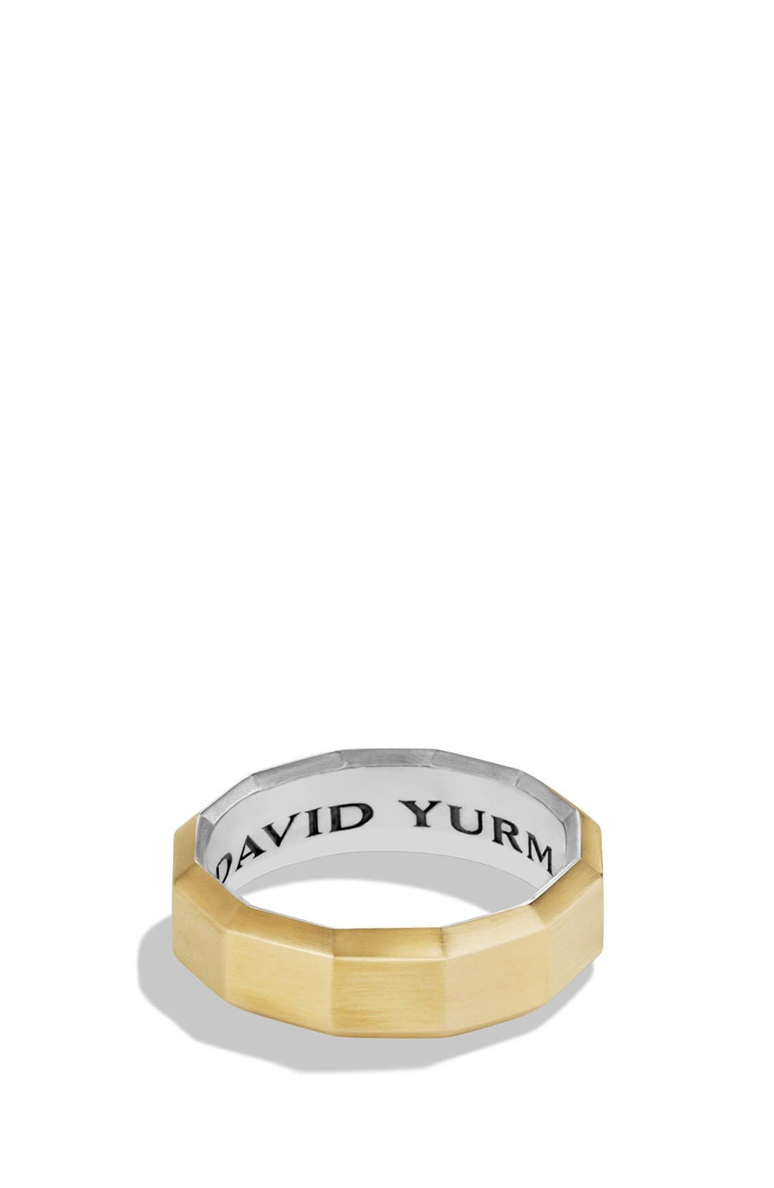 Alternate Image 1 Selected - David Yurman 'Faceted' Metal Ring with 18k Gold