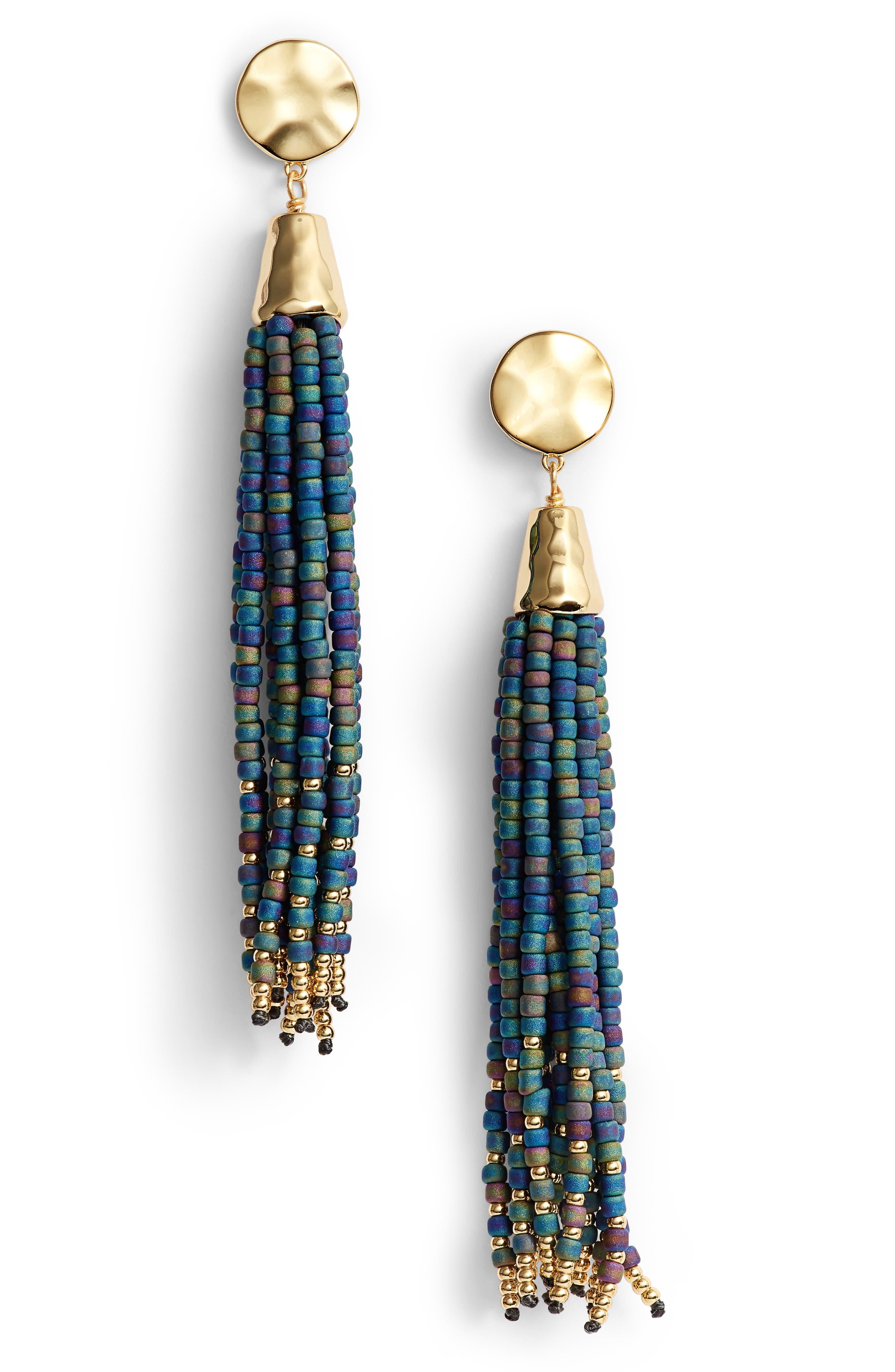 Salina Beaded Tassel Earrings,                             Main thumbnail 1, color,                             Slate Grey Iridescent/ Gold
