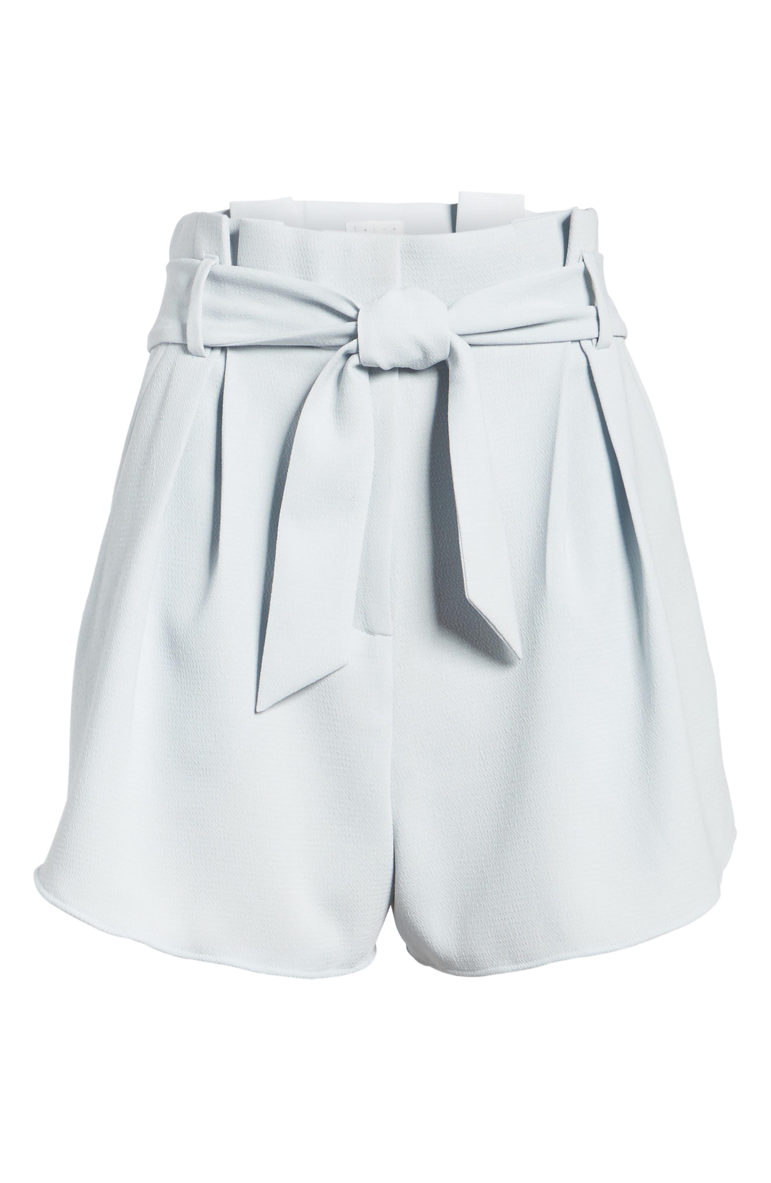 Paperbag Shorts,                             Alternate thumbnail 6, color,                             Blue Pearl