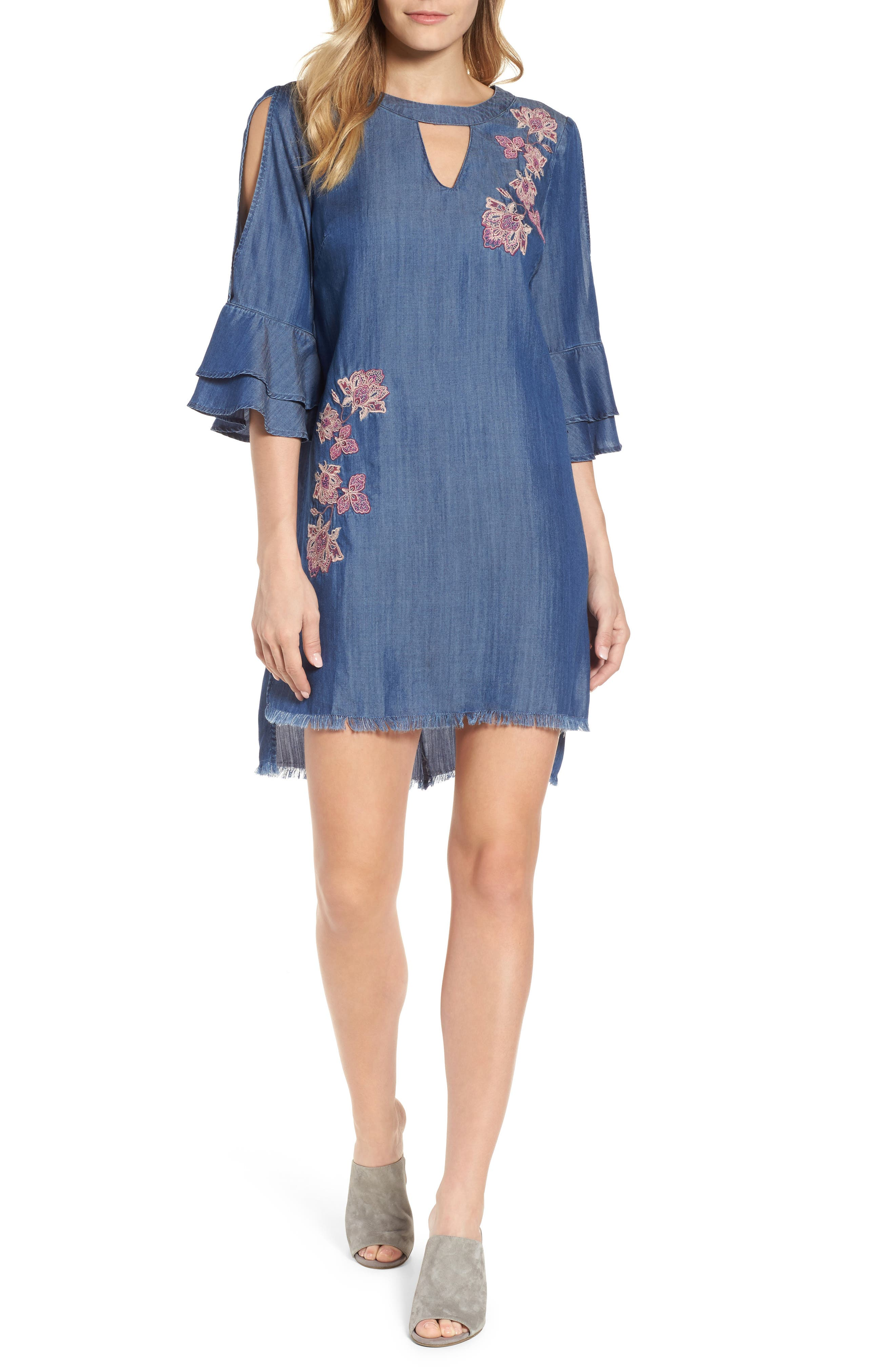 Embroidered Chambray Keyhole Dress,                             Main thumbnail 1, color,                             Blue