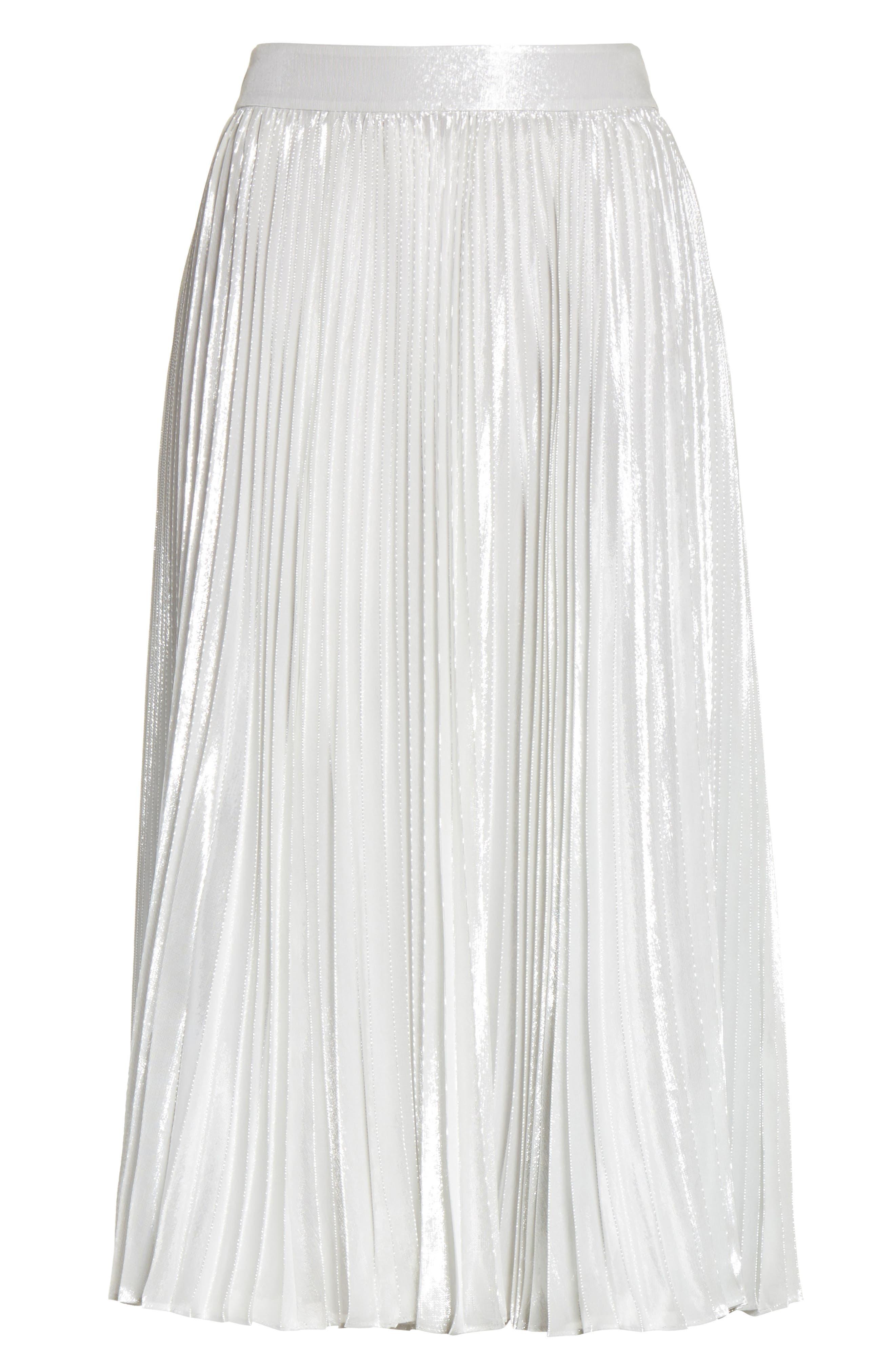 metallic pleat midi skirt,                             Alternate thumbnail 6, color,                             Silver
