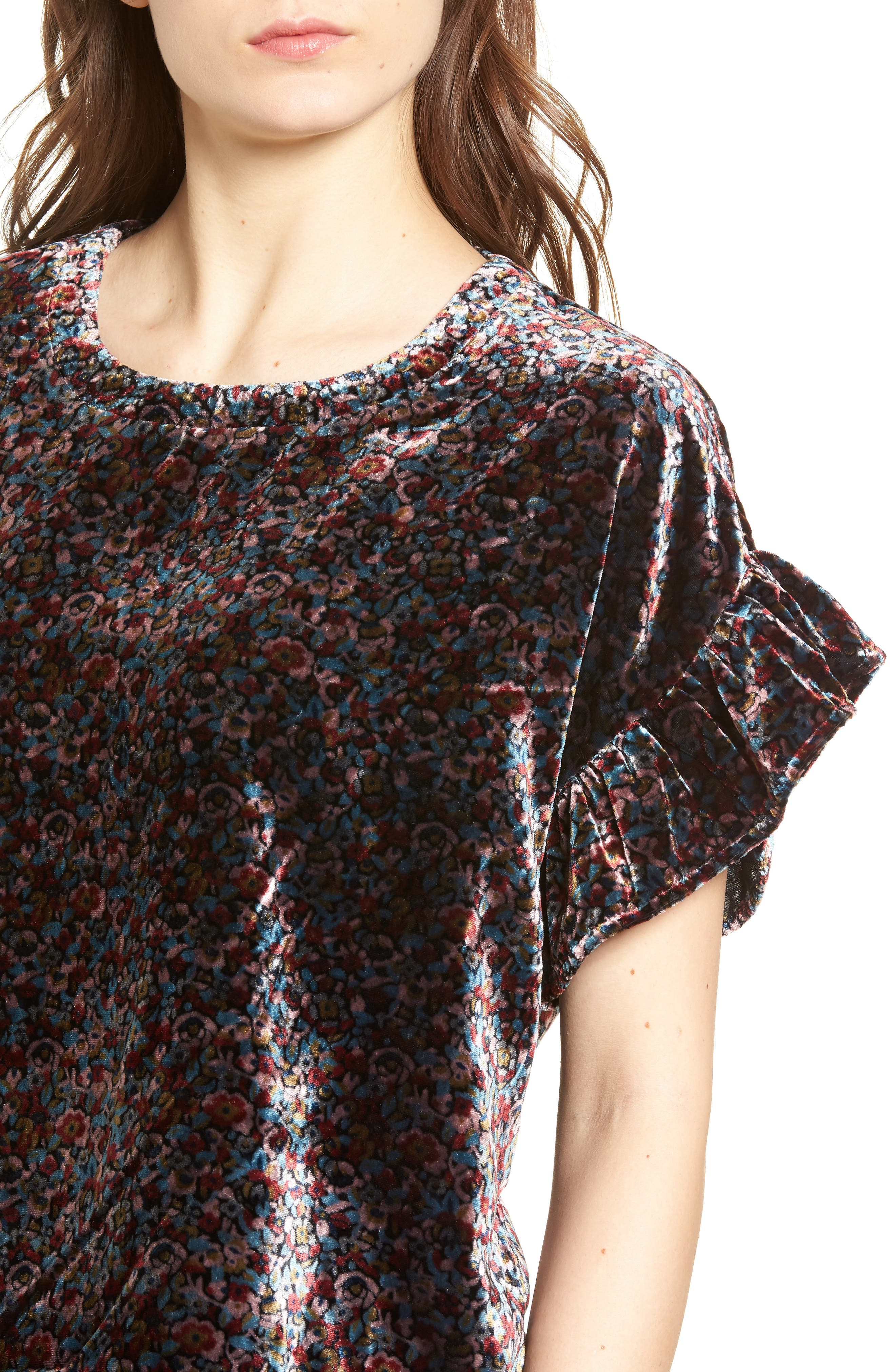 The Janie Velvet Top,                             Alternate thumbnail 4, color,                             Floral Velvet