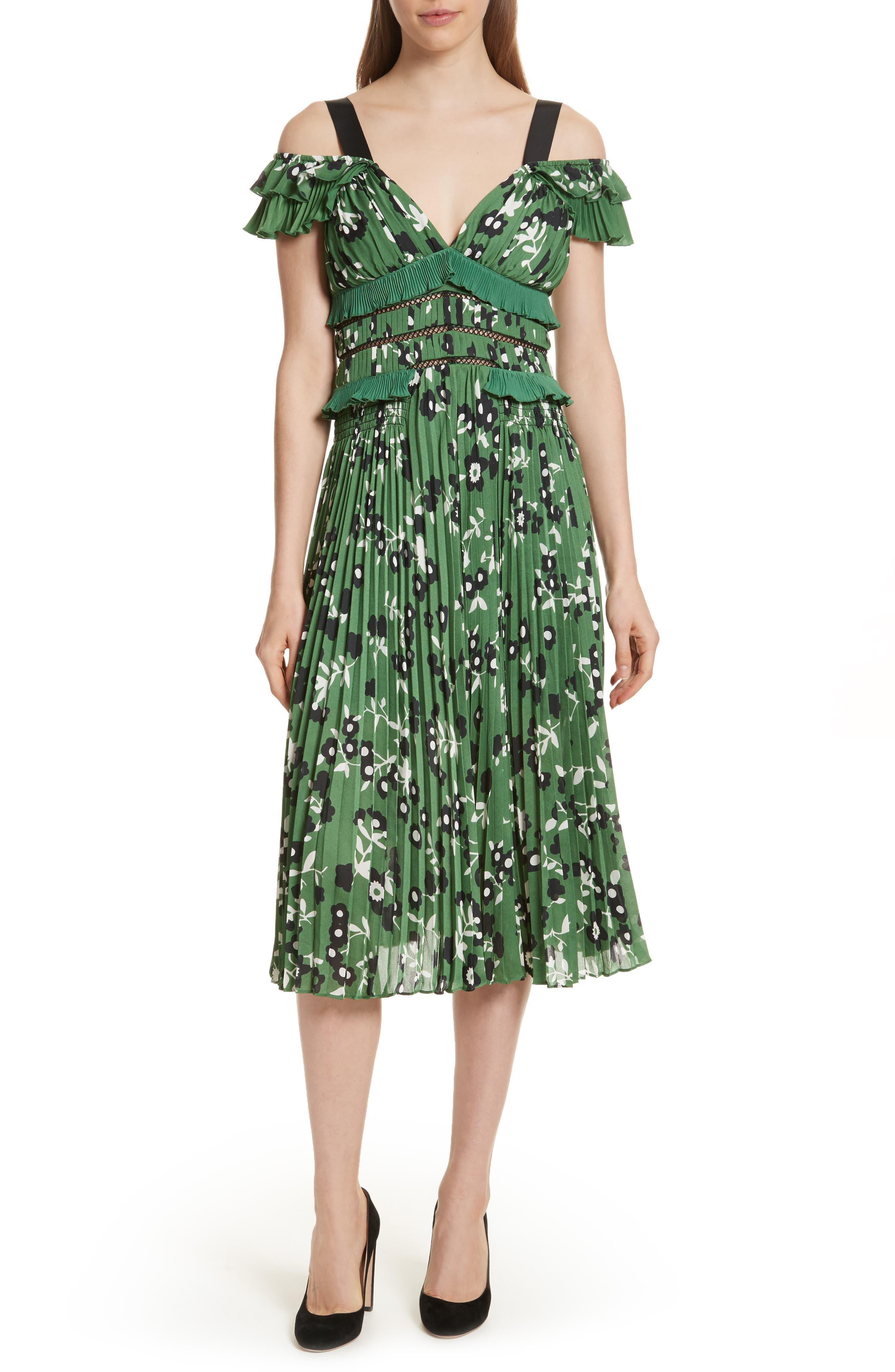 Floral Print Cold Shoulder Dress,                         Main,                         color, Green