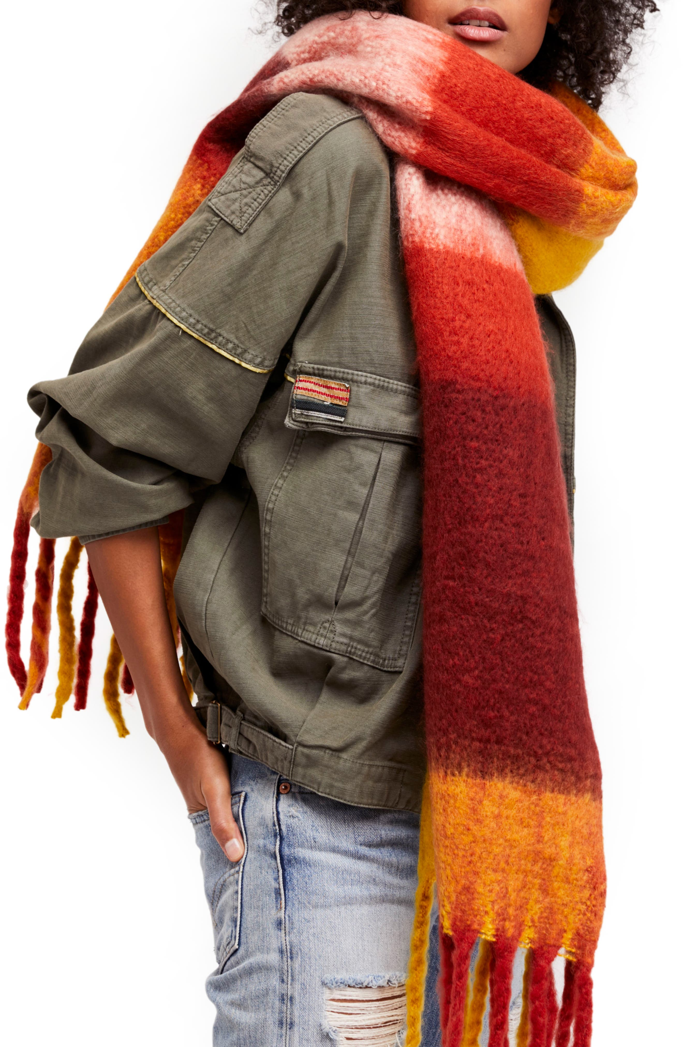 Alternate Image 1 Selected - Free People Cameron Plaid Fringe Scarf