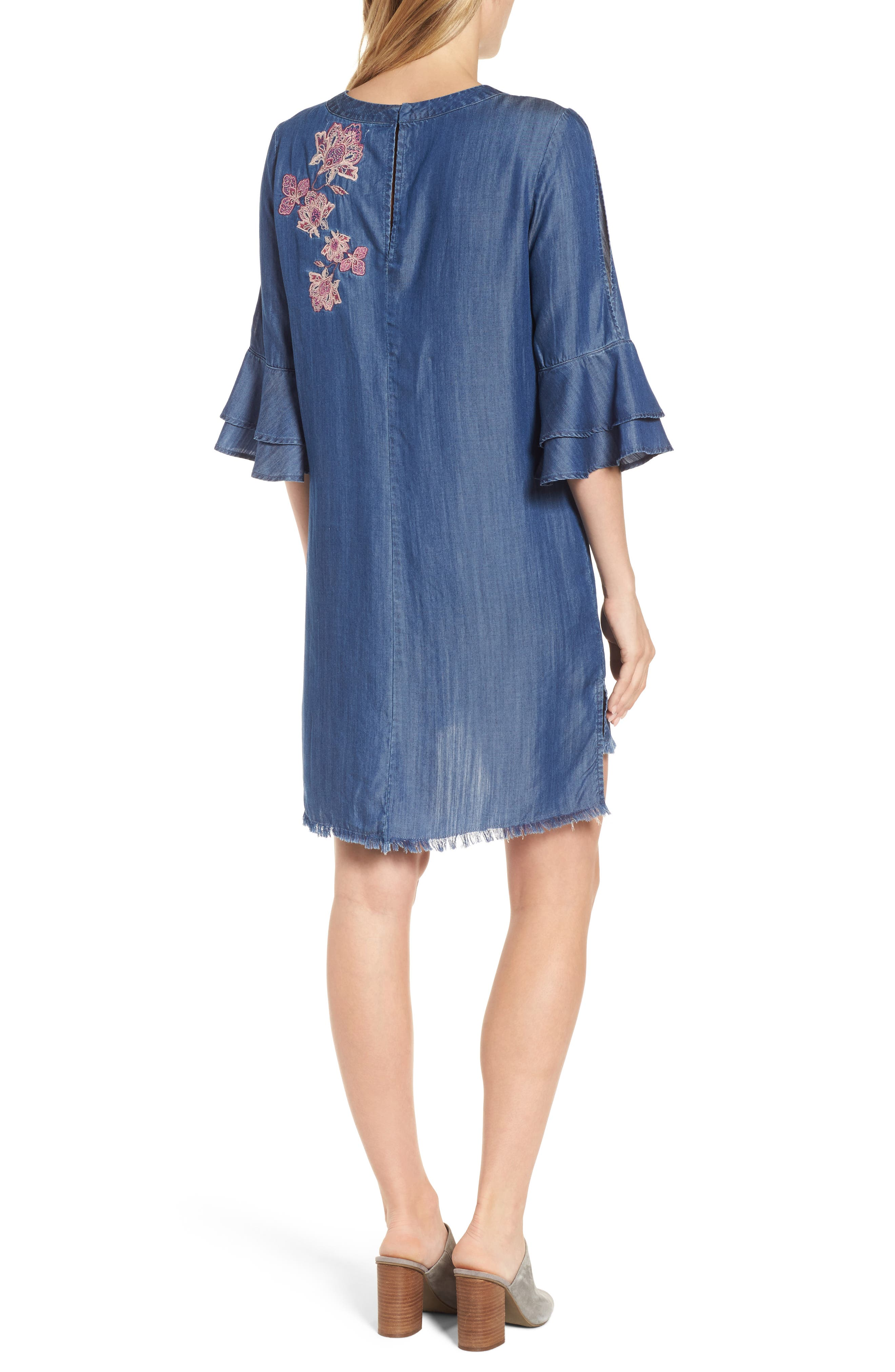Embroidered Chambray Keyhole Dress,                             Alternate thumbnail 2, color,                             Blue
