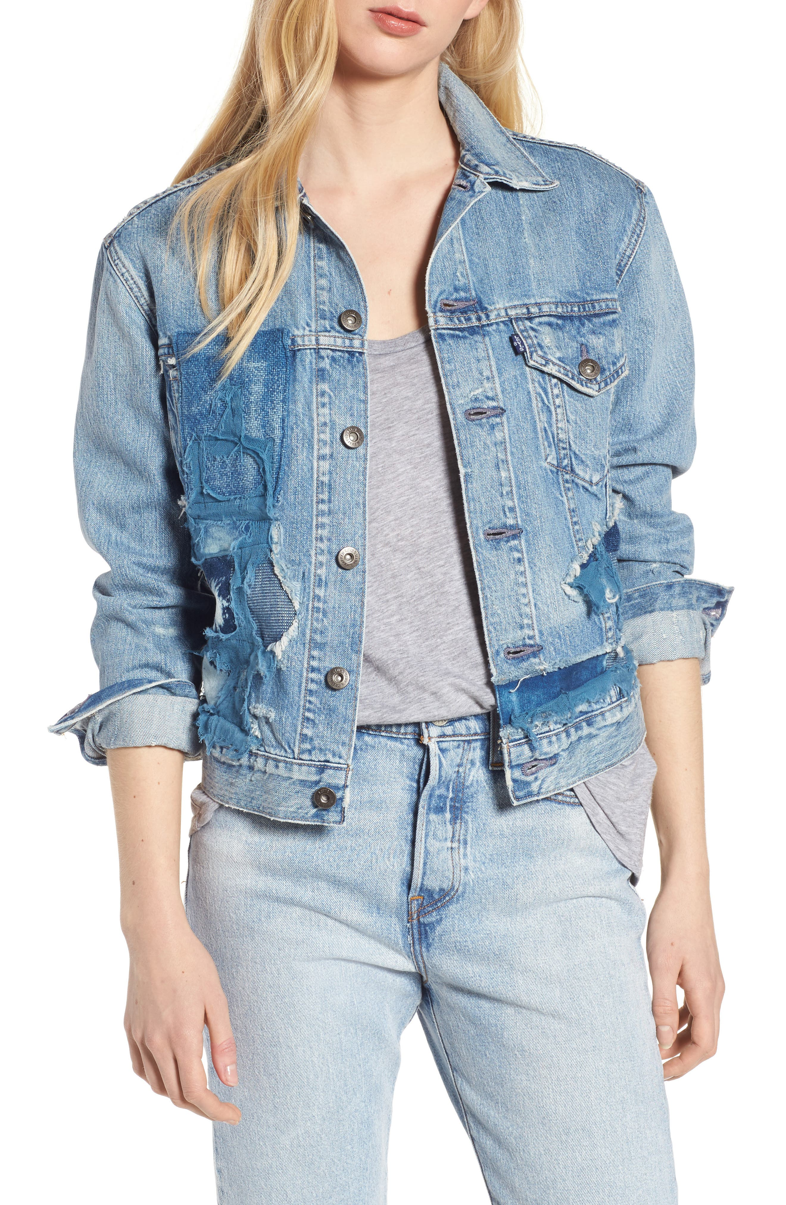 Made & Crafted<sup>™</sup> Boyfriend Trucker Jacket,                         Main,                         color, Taito Light
