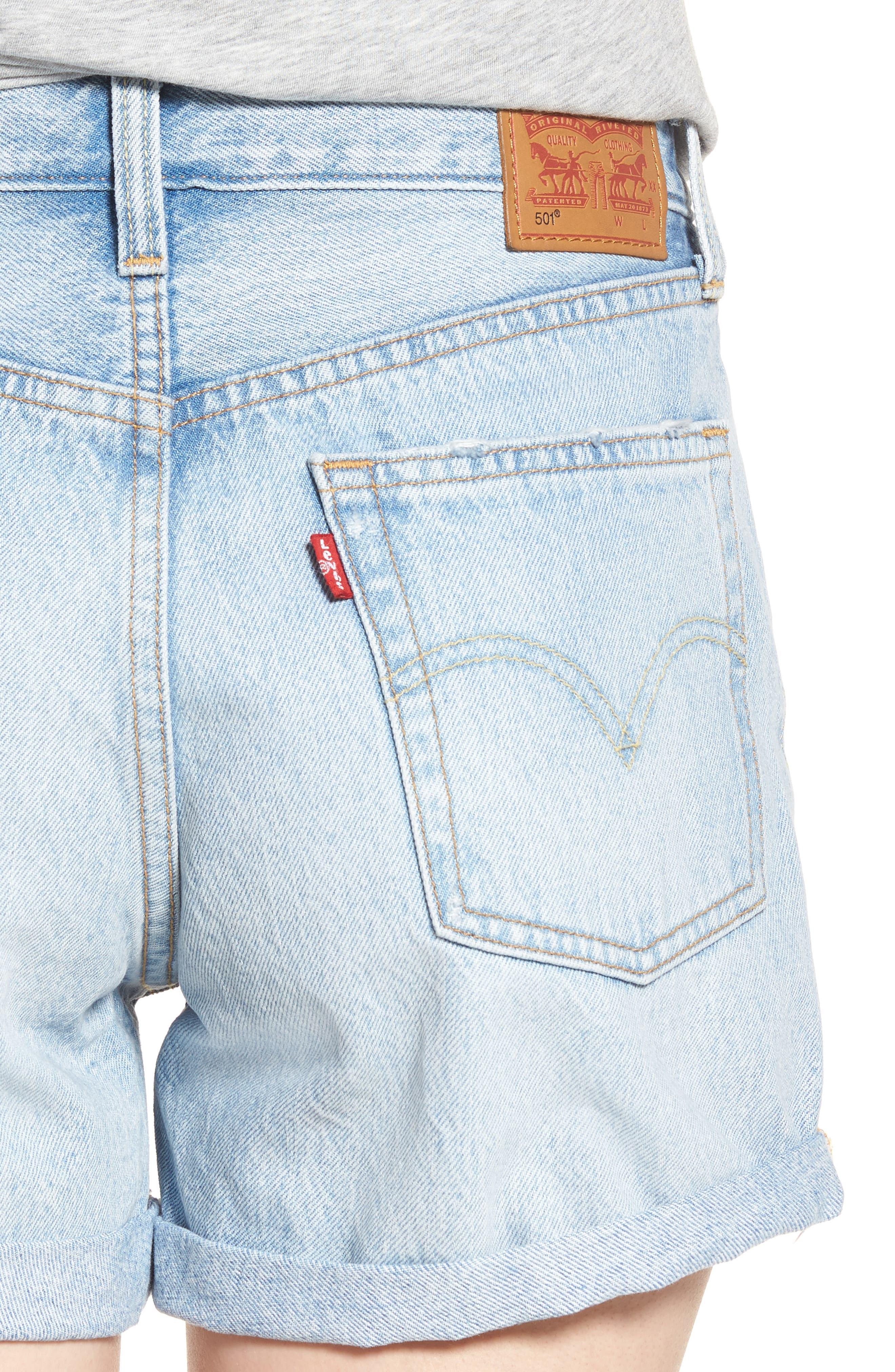 501<sup>®</sup> Cuffed Long Denim Shorts,                             Alternate thumbnail 4, color,                             North Beach Blues