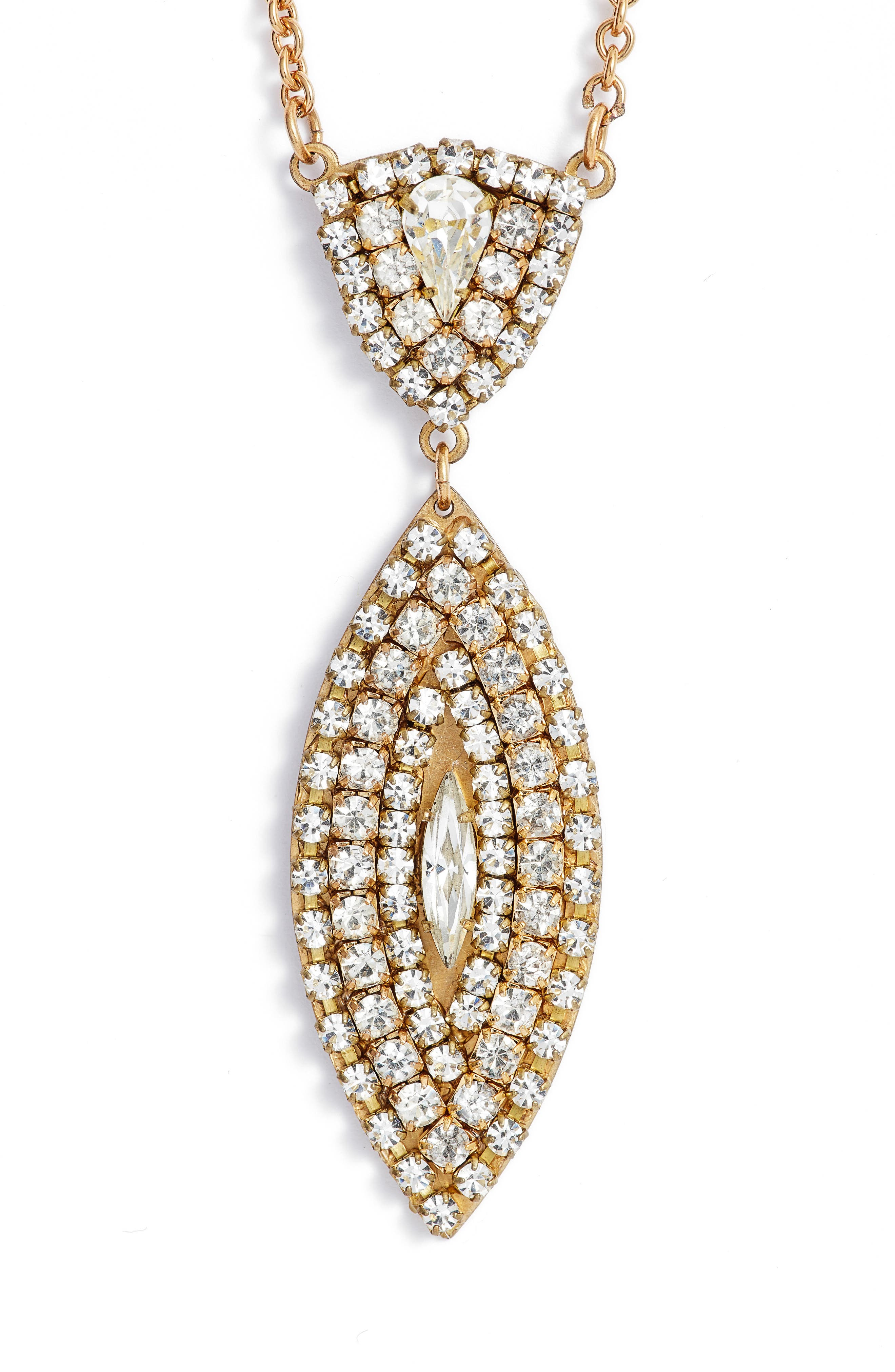 Crystal Pendant Drop Necklace,                         Main,                         color, Gold/ Crystal
