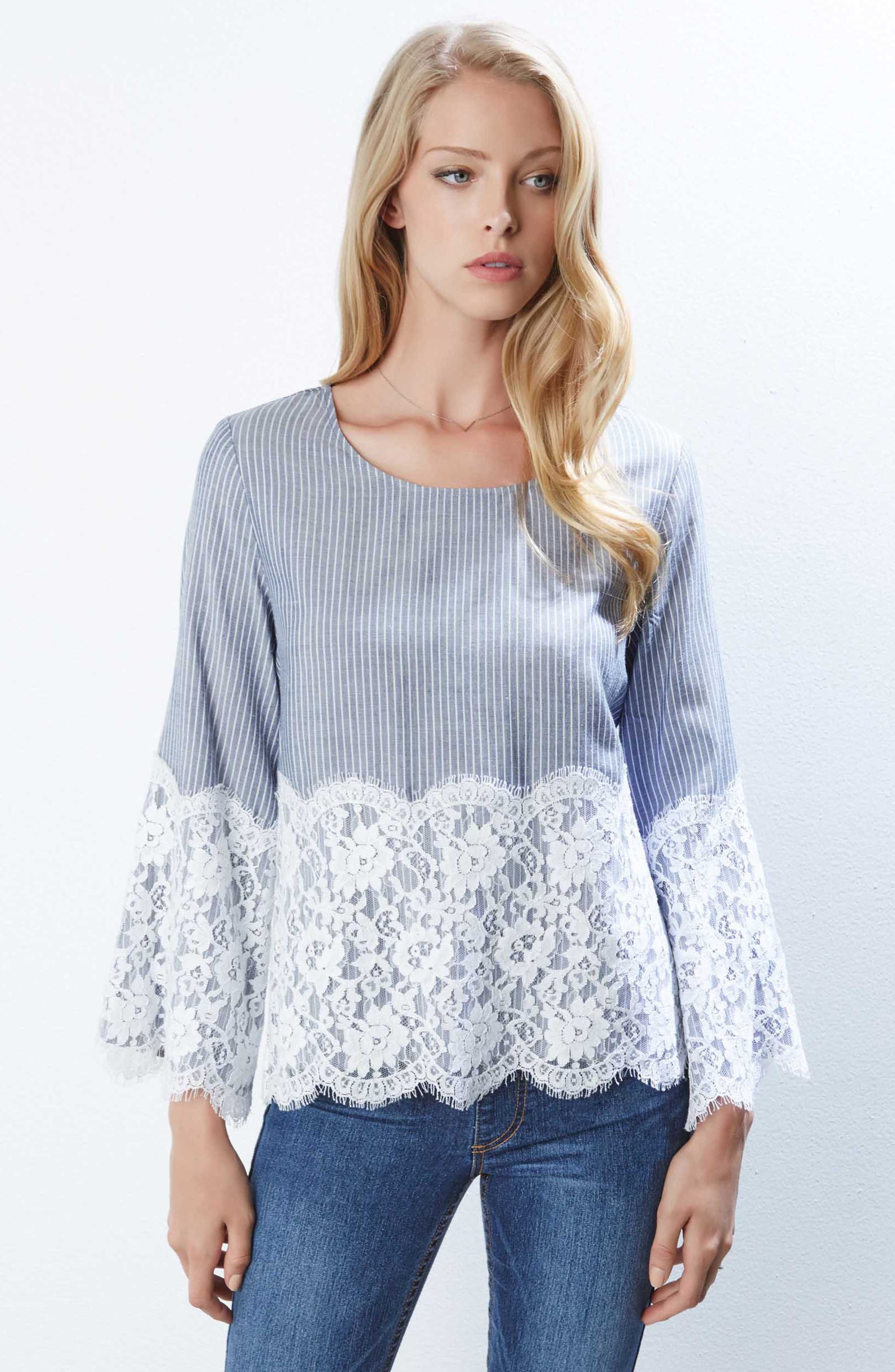 Chambray Stripe Lace Top,                             Alternate thumbnail 2, color,                             Striped