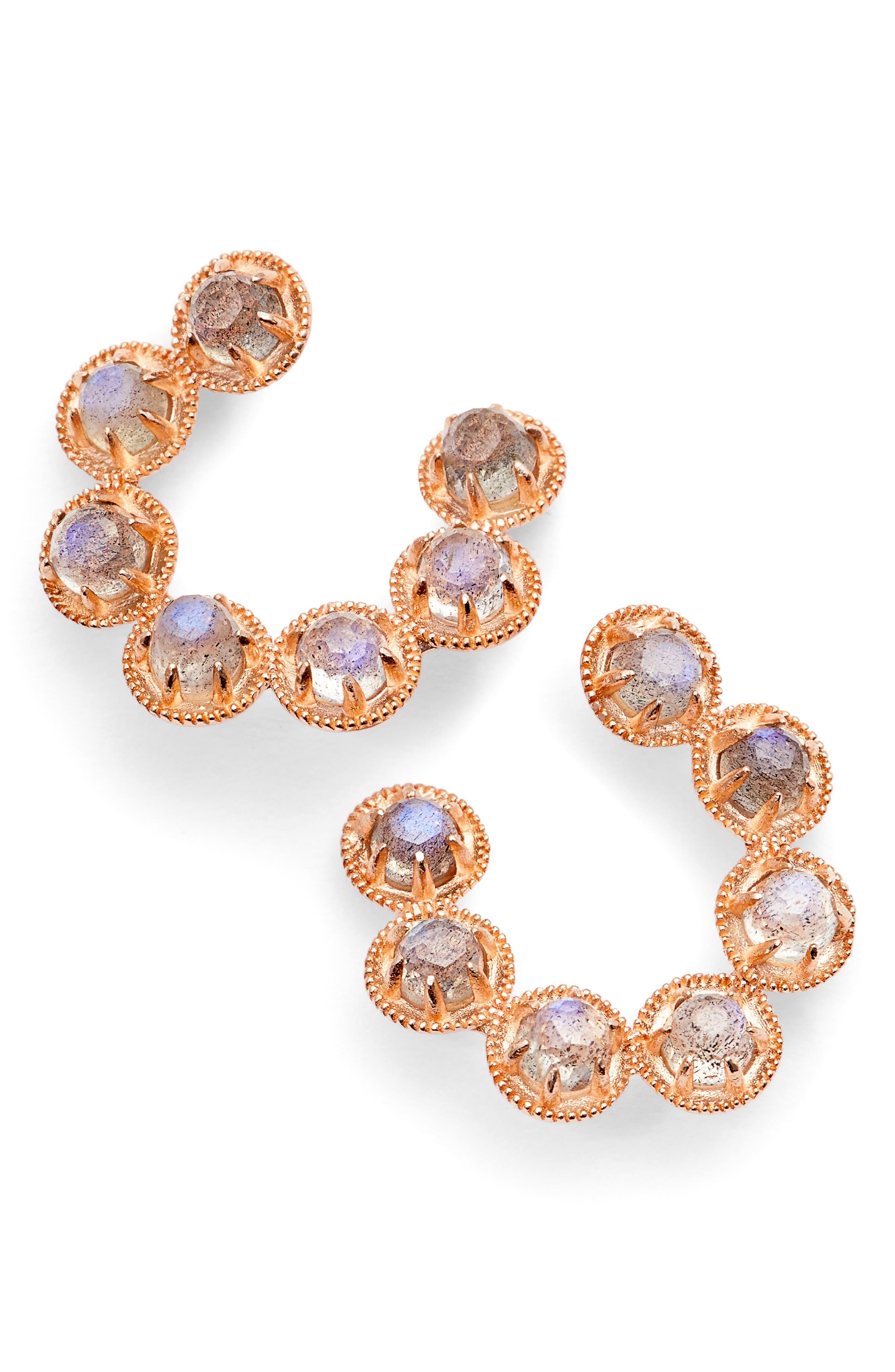 Cleo Vermeil Hoop Earrings,                             Main thumbnail 1, color,                             Moonstone/ Rose Gold