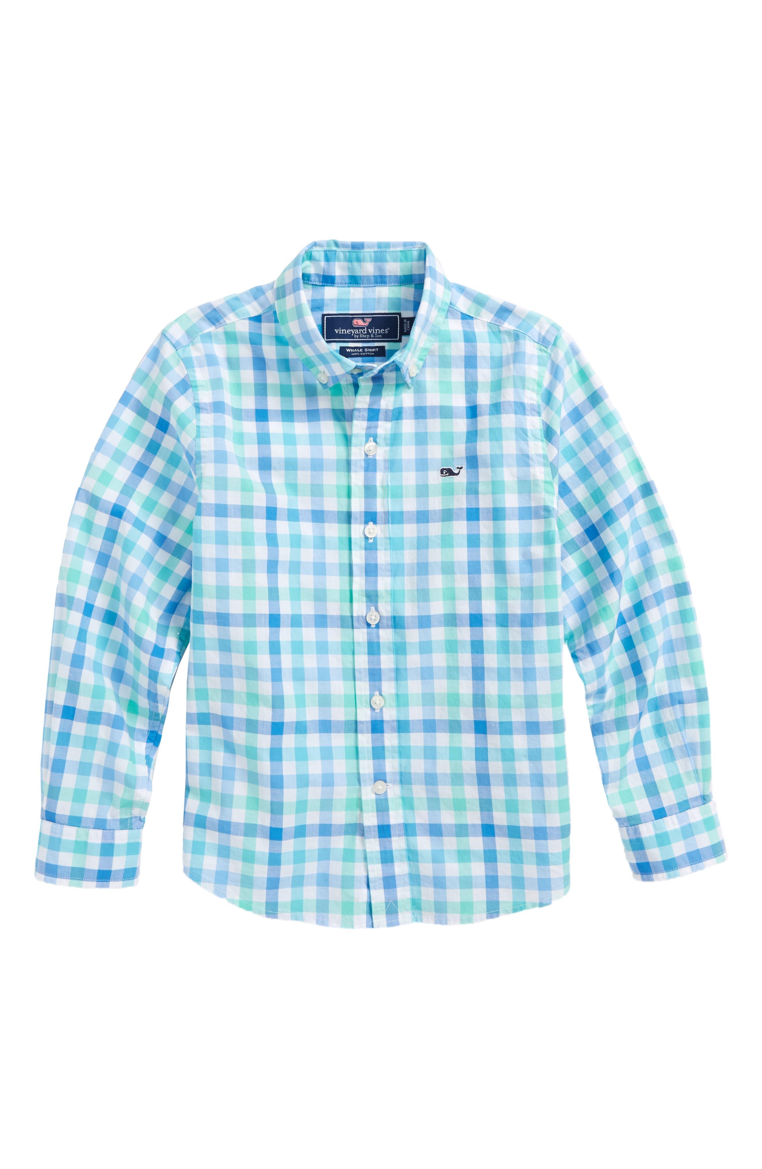 Eagle's Nest Gingham Dress Shirt,                         Main,                         color, Turqs