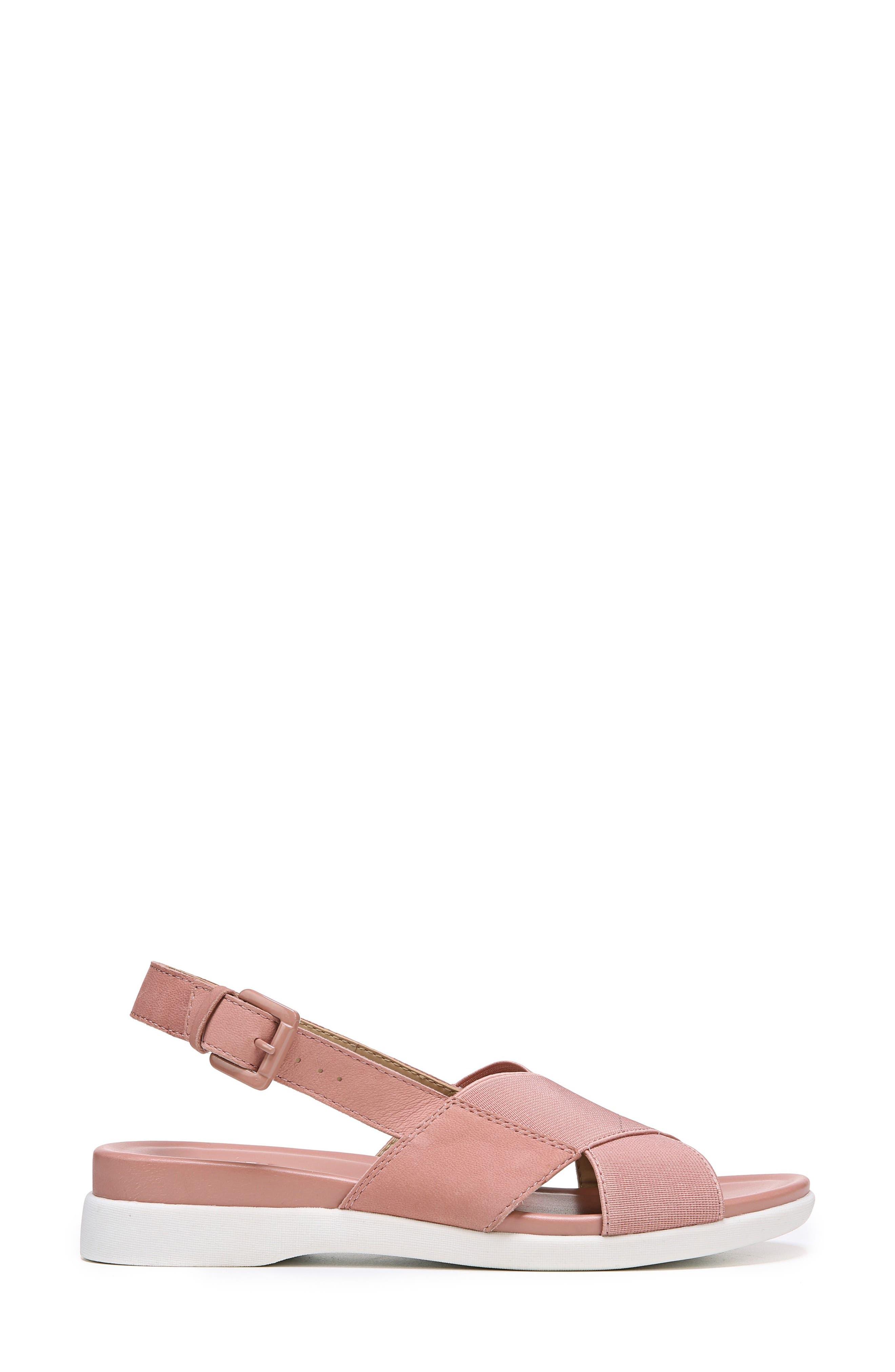 Eliza Wedge Sandal,                             Alternate thumbnail 3, color,                             Pink Nubuck Leather