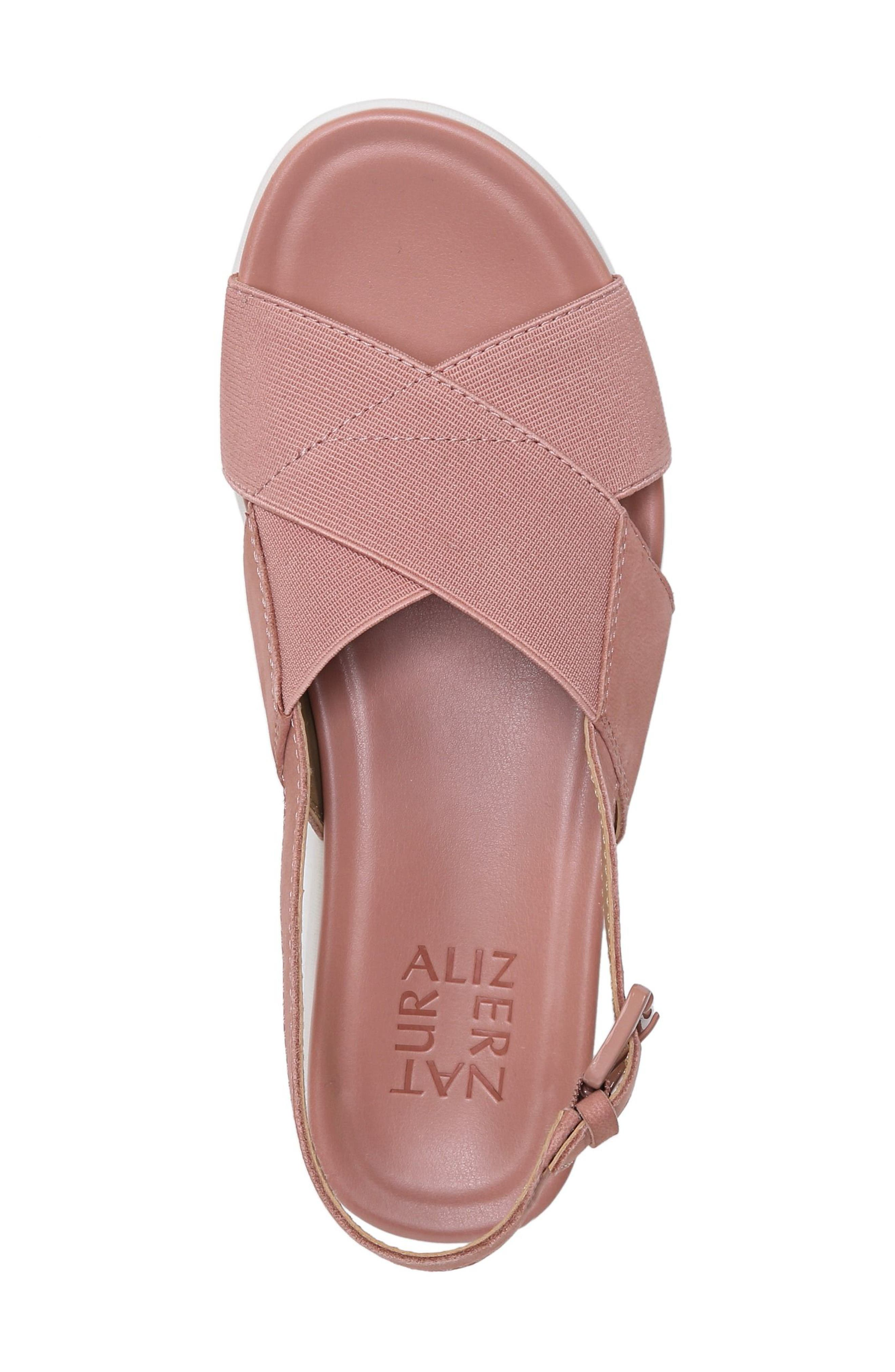 Eliza Wedge Sandal,                             Alternate thumbnail 5, color,                             Pink Nubuck Leather