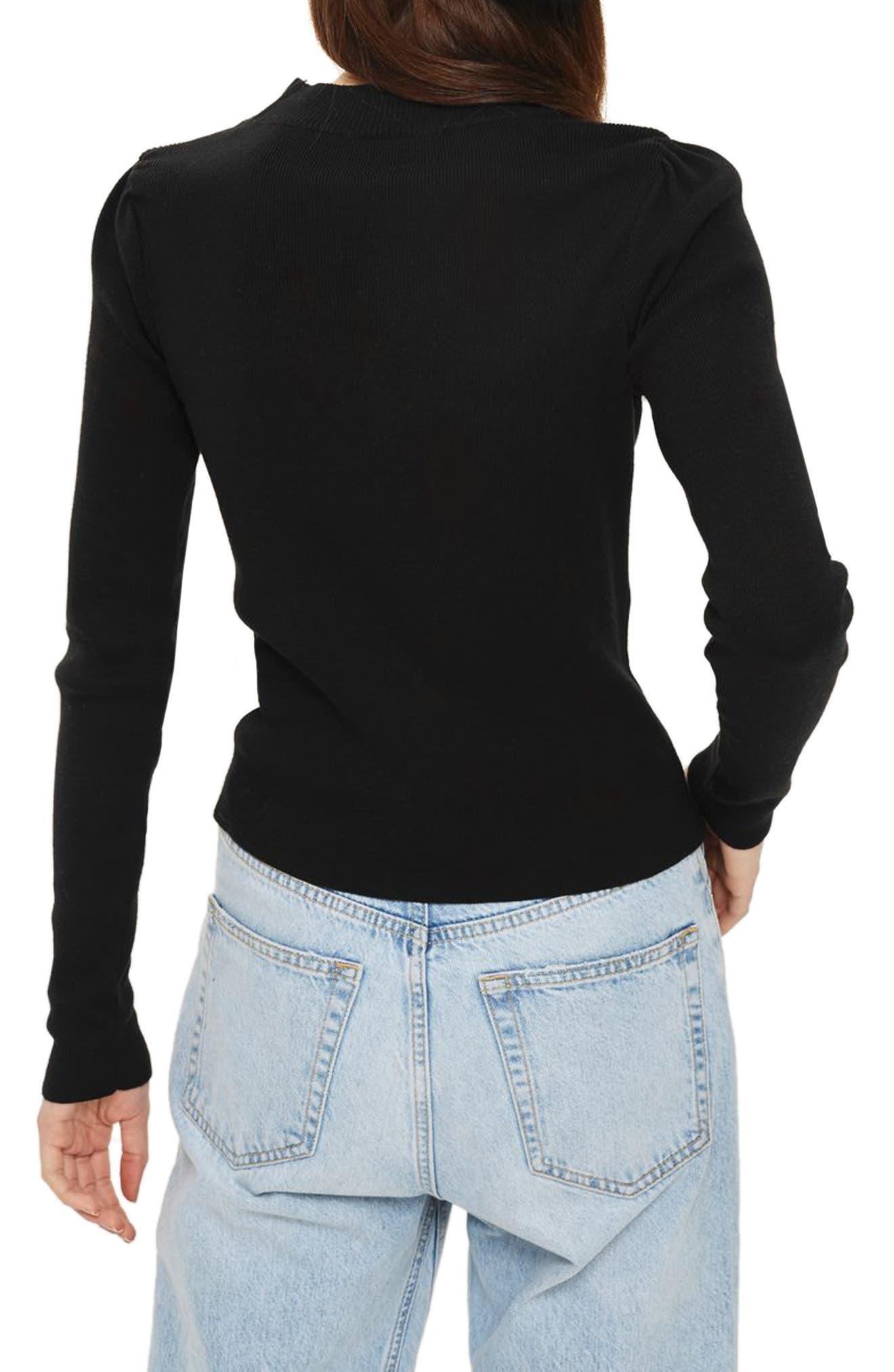 Graduated Imitation Pearl Sweater,                             Alternate thumbnail 3, color,                             Black Multi