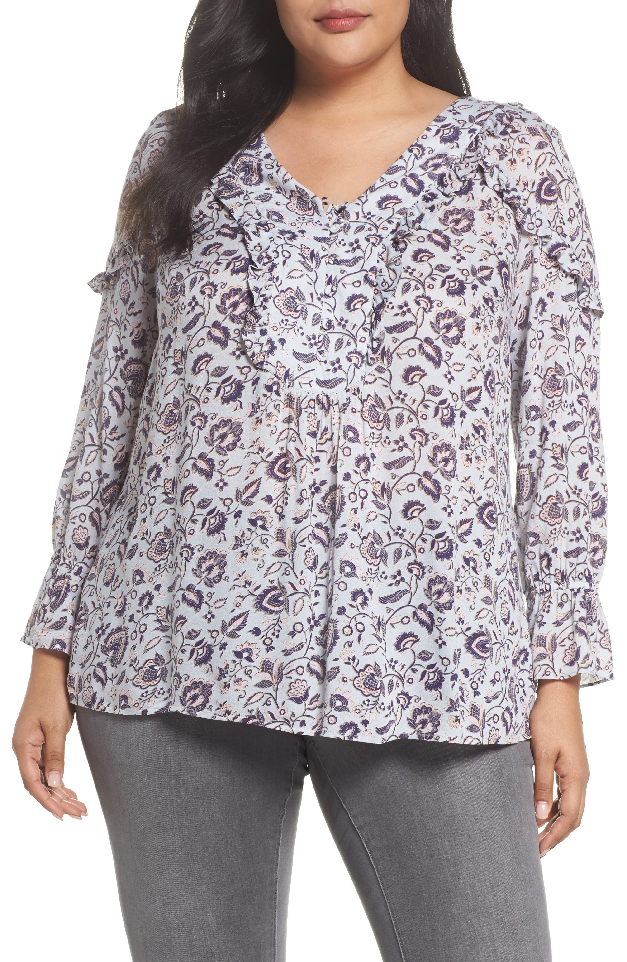 Ruffle Trim Floral Top,                             Main thumbnail 1, color,                             C959n Sky