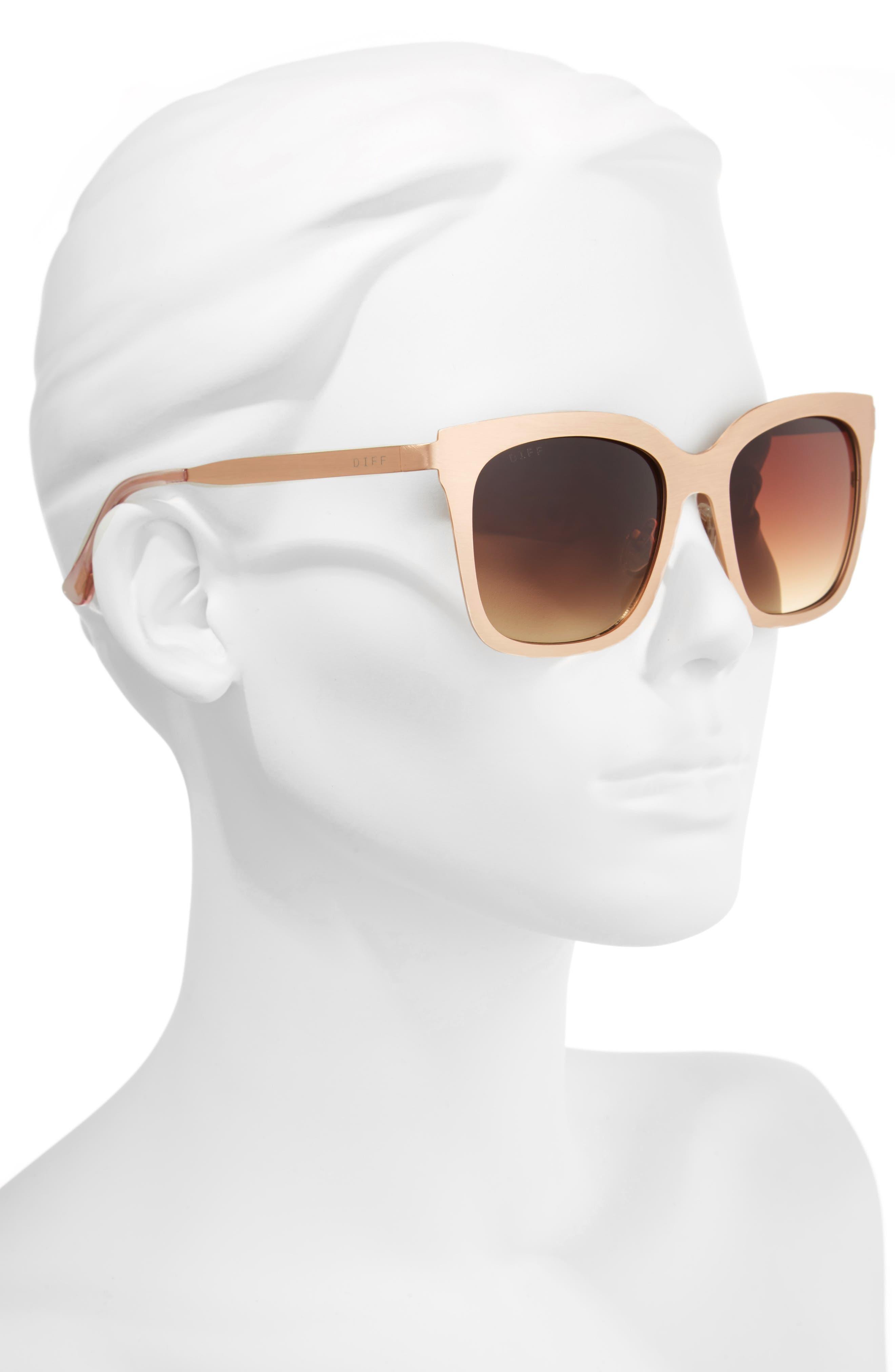x Lauren Akins Ella 55mm Cat Eye Sunglasses,                             Alternate thumbnail 2, color,                             Gold/ Brown