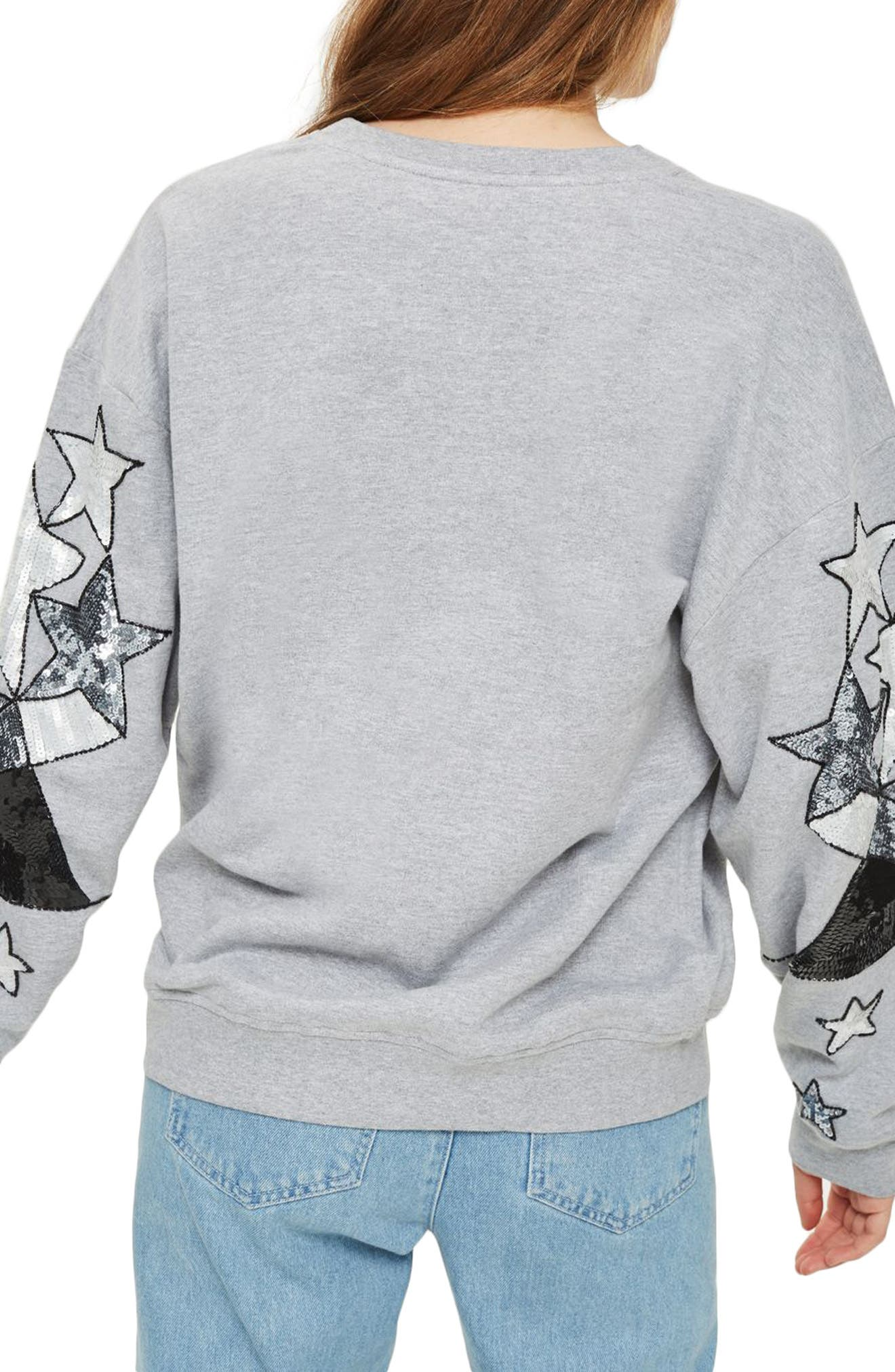 Sequin Star Sleeve Sweatshirt,                             Alternate thumbnail 2, color,                             Grey Marl