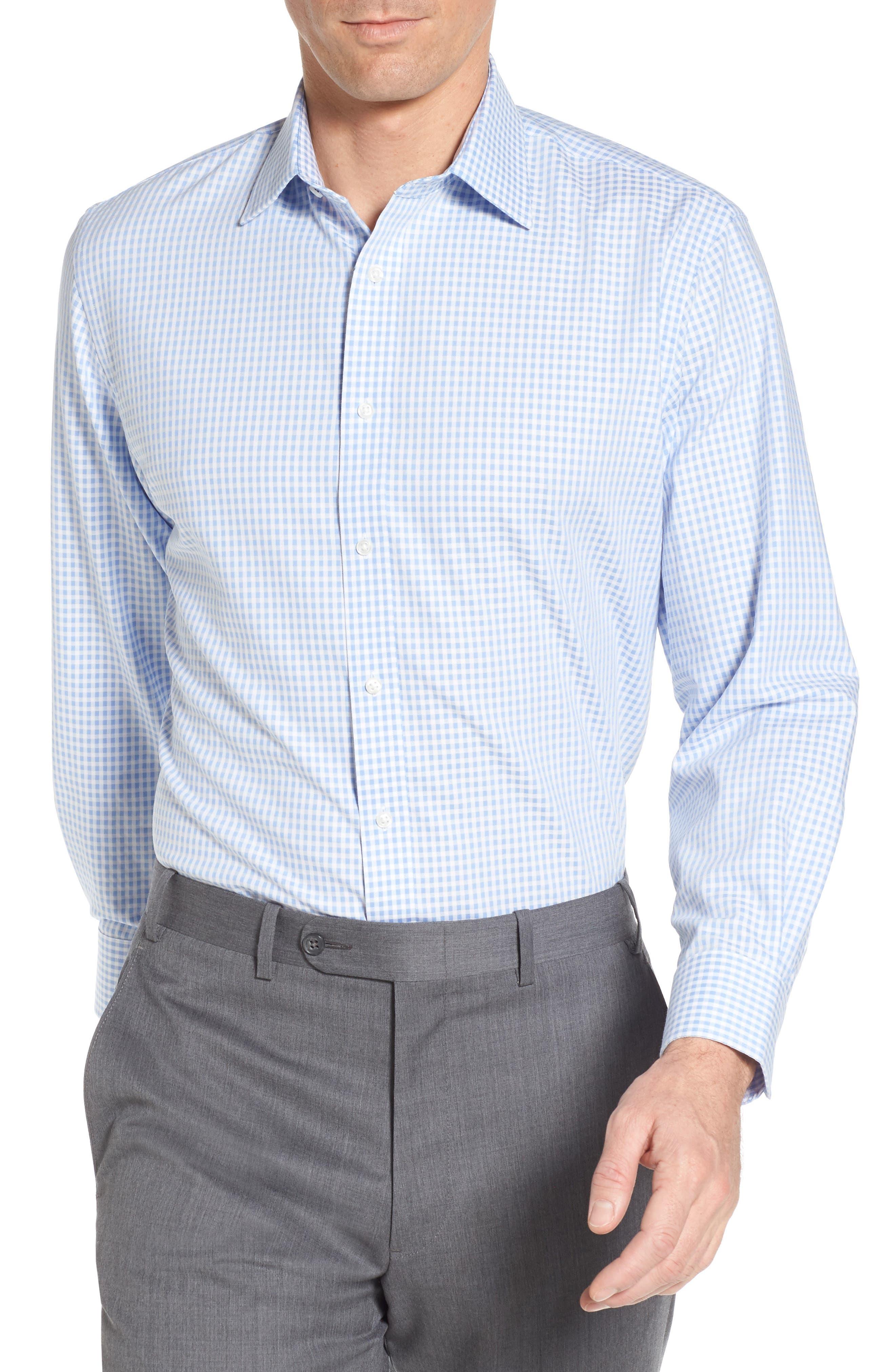 Tech-Smart Traditional Fit Stretch Check Dress Shirt,                             Main thumbnail 1, color,                             Blue Stork