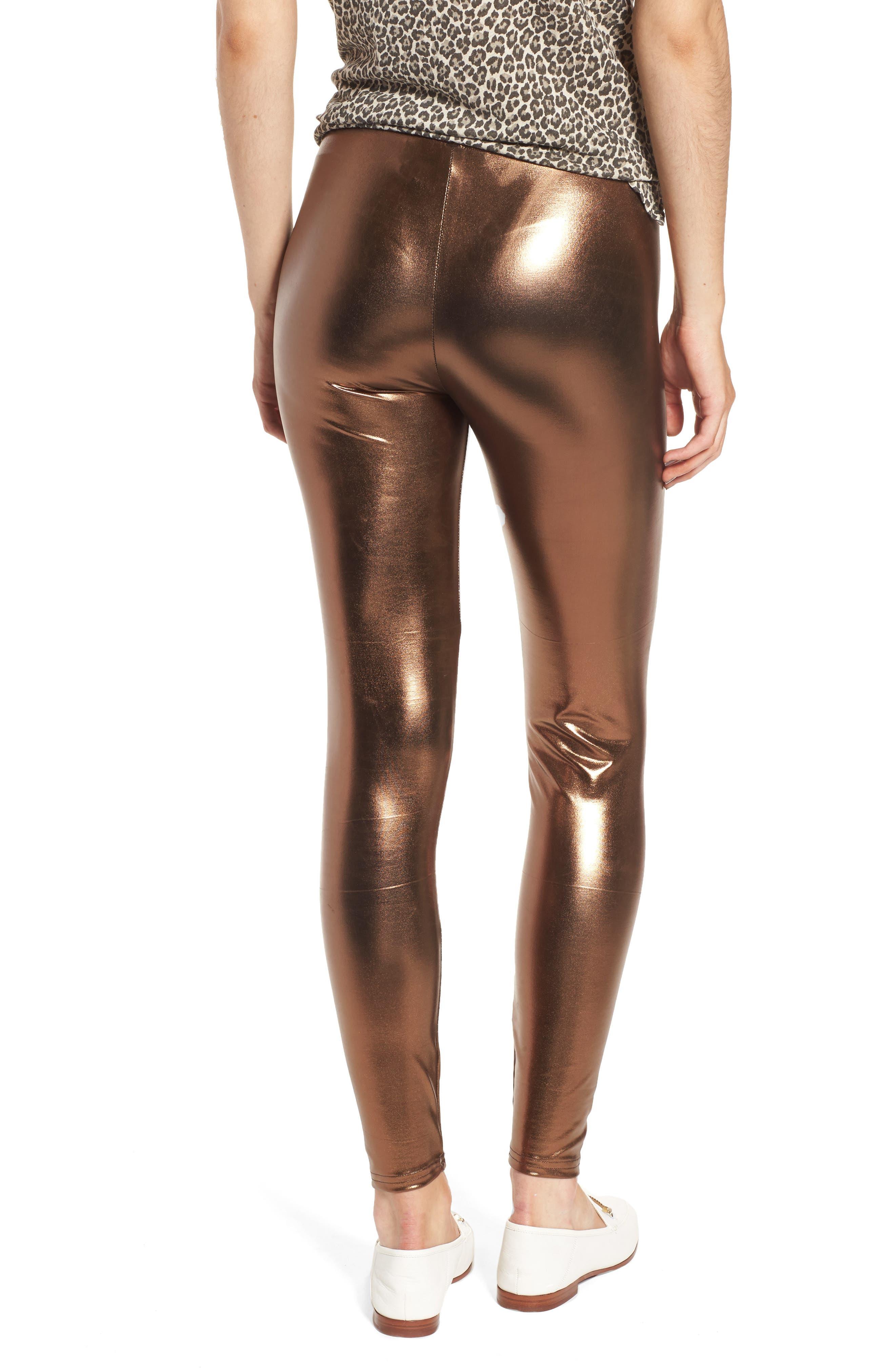Metallic Leggings,                             Alternate thumbnail 2, color,                             Bronze