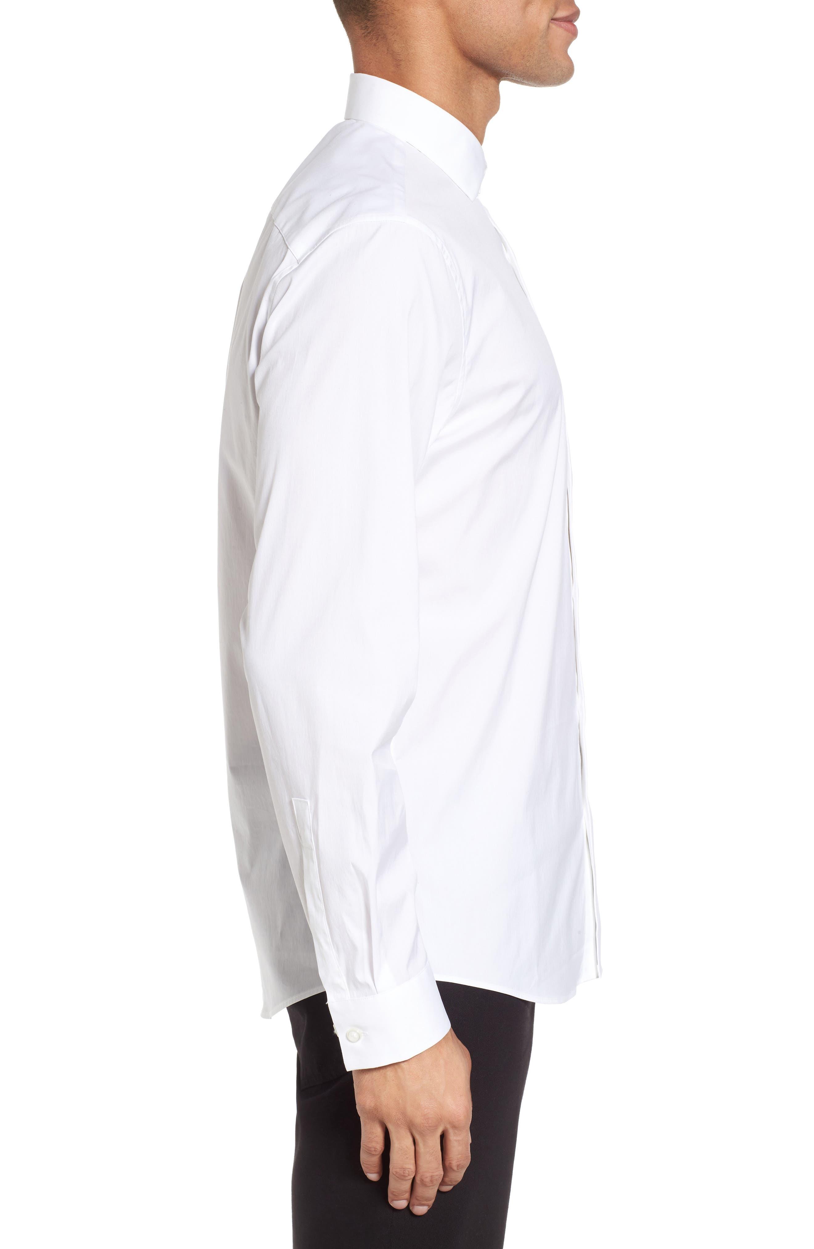 Trim Fit Stretch Sport Shirt,                             Alternate thumbnail 3, color,                             White