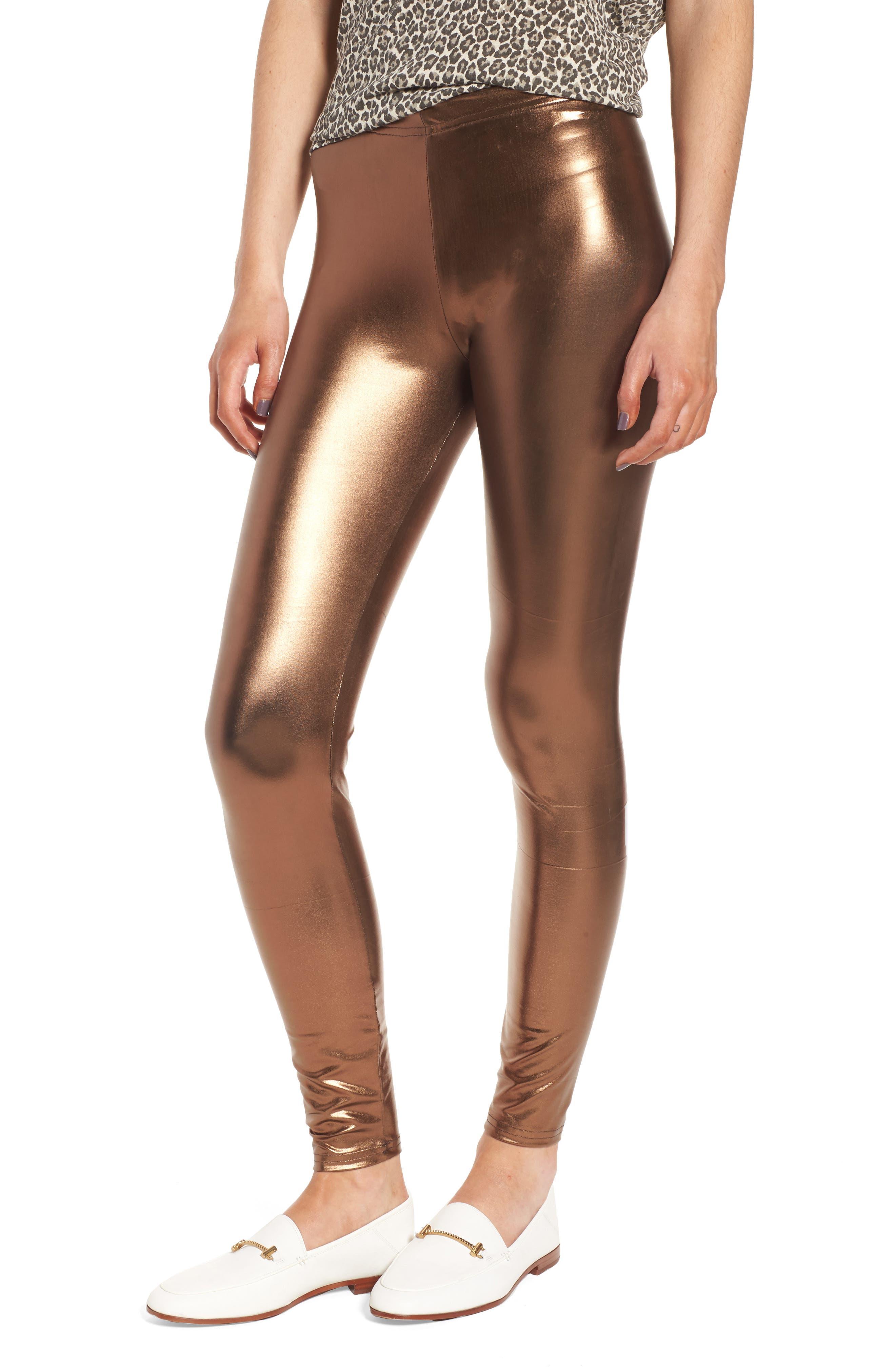 Metallic Leggings,                         Main,                         color, Bronze