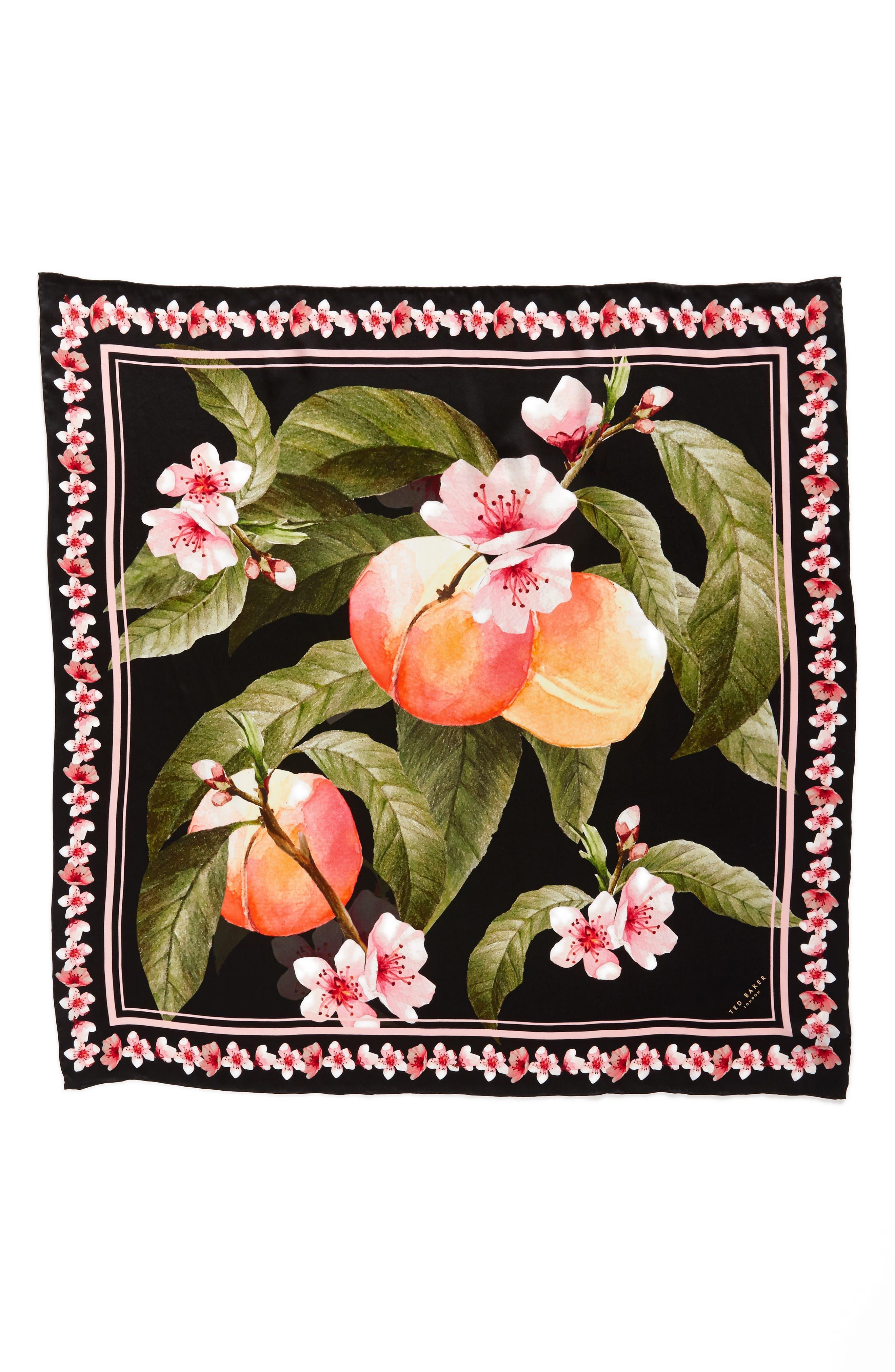 Peach Blossom Square Silk Scarf,                             Alternate thumbnail 2, color,                             00-Black