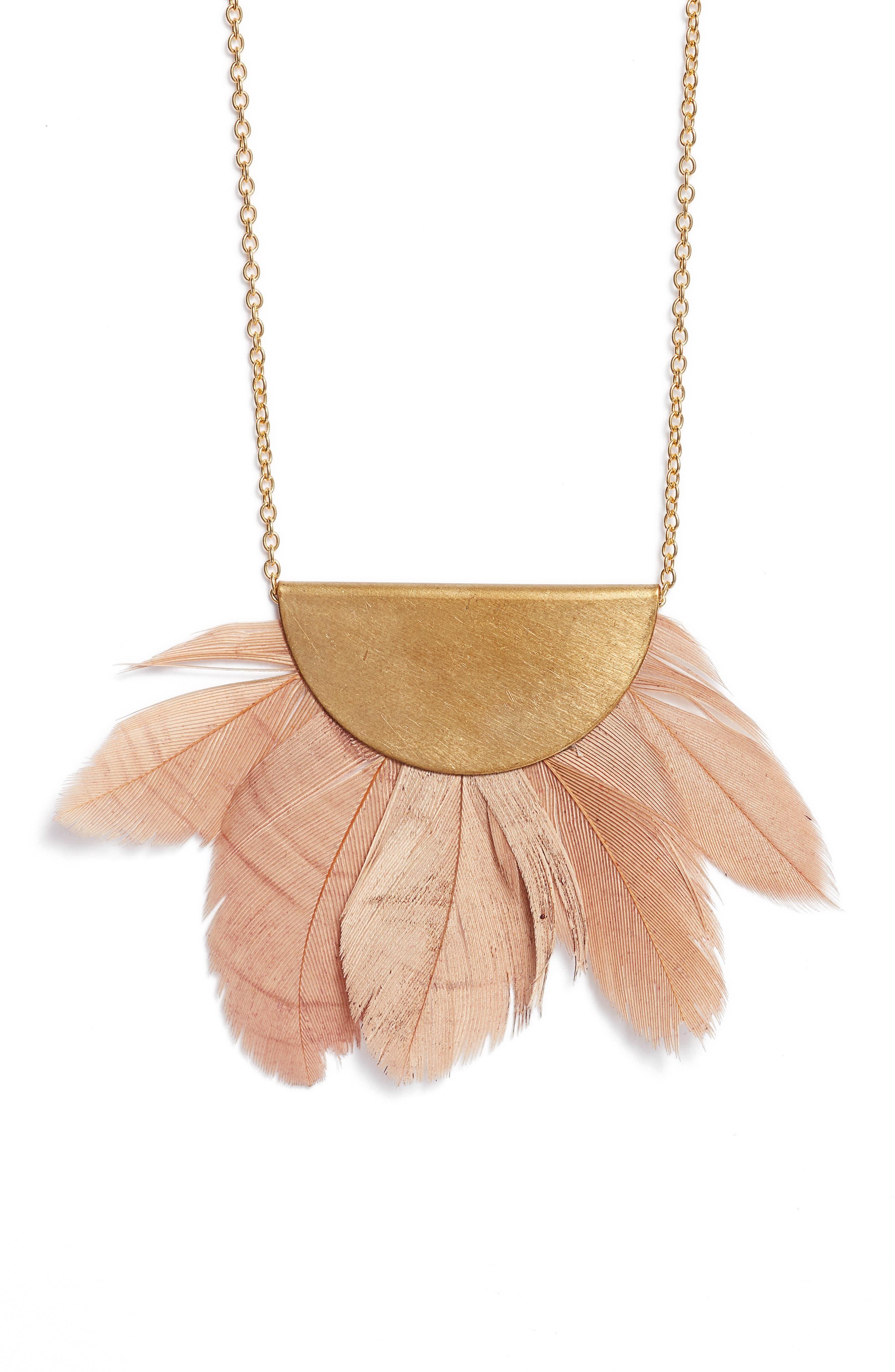 Feather Fan Pendant Necklace,                             Main thumbnail 1, color,                             Gold/ Blush