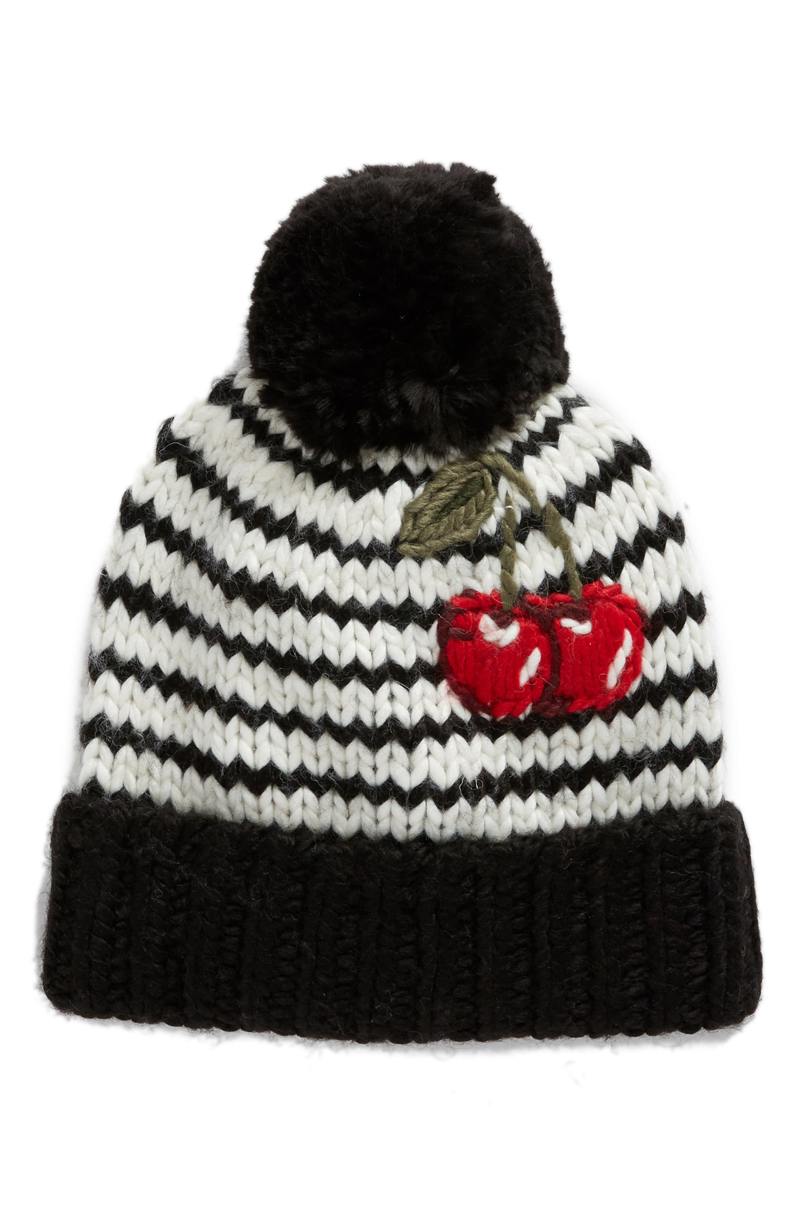 ma cherie hand knit pom beanie,                             Main thumbnail 1, color,                             Cream