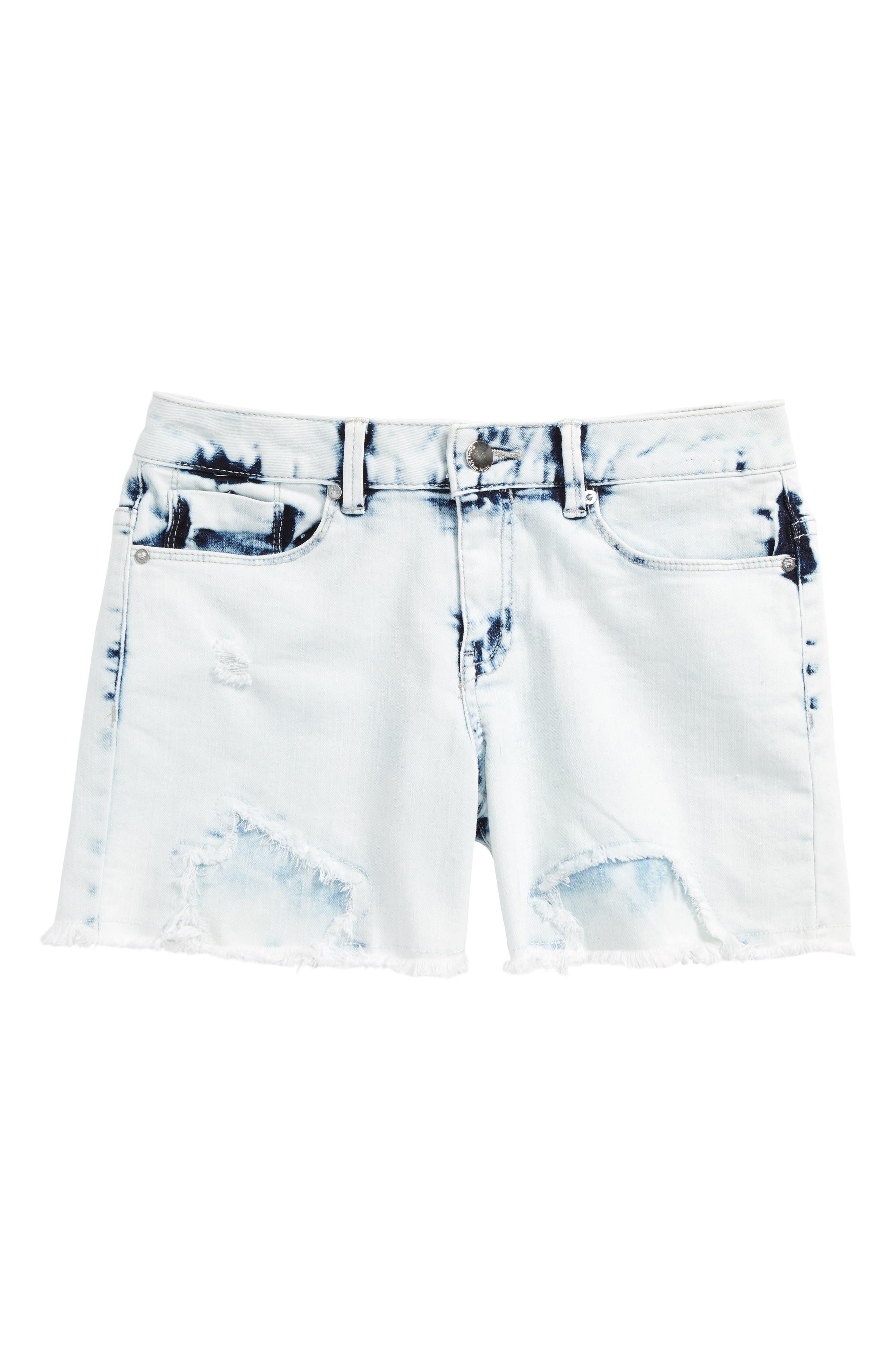 Main Image - Calvin Klein Extreme Destroy Denim Shorts (Big Girls)