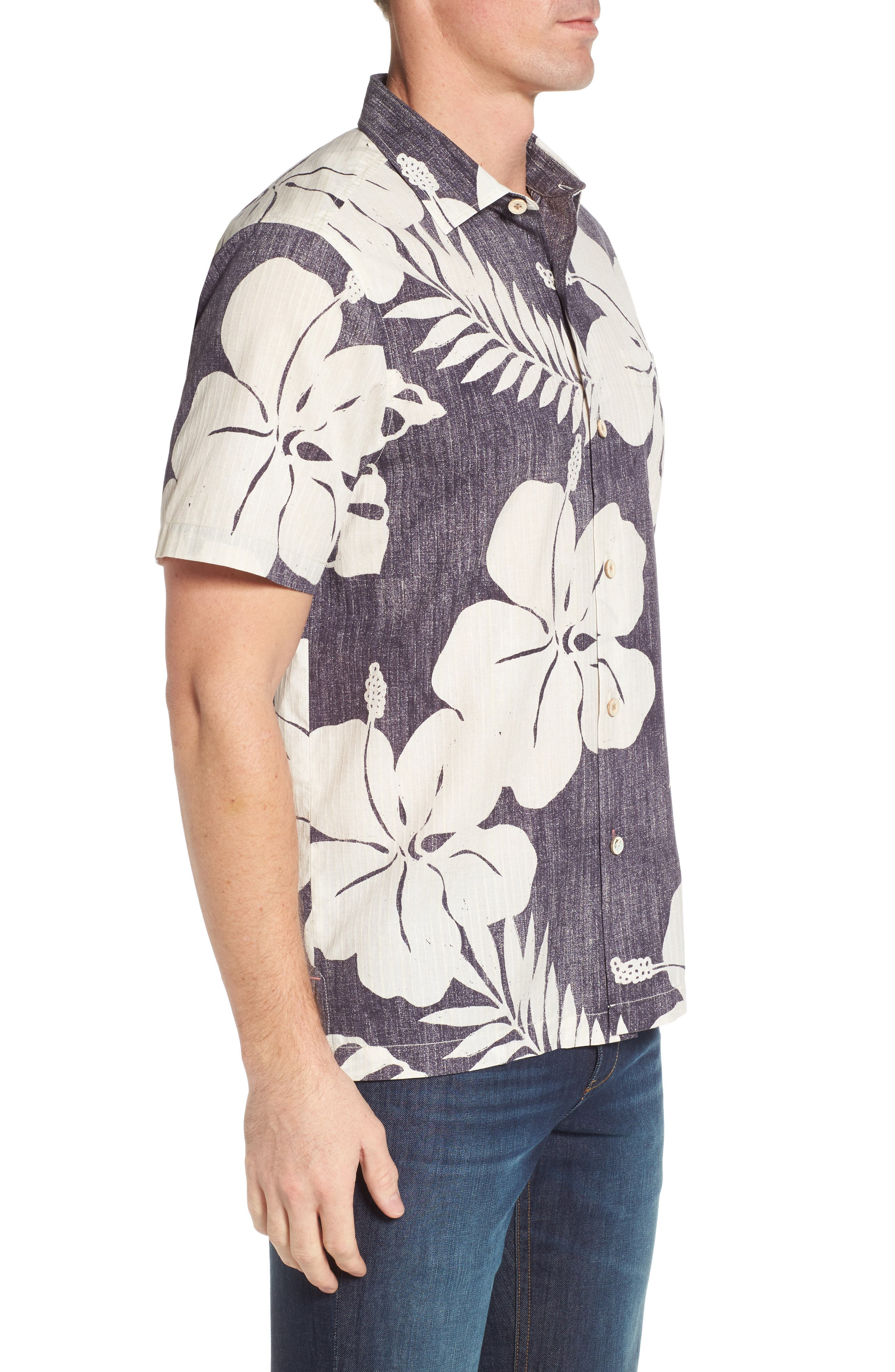 Hialeah Hibiscus Camp Shirt,                             Alternate thumbnail 3, color,                             Steel Wool