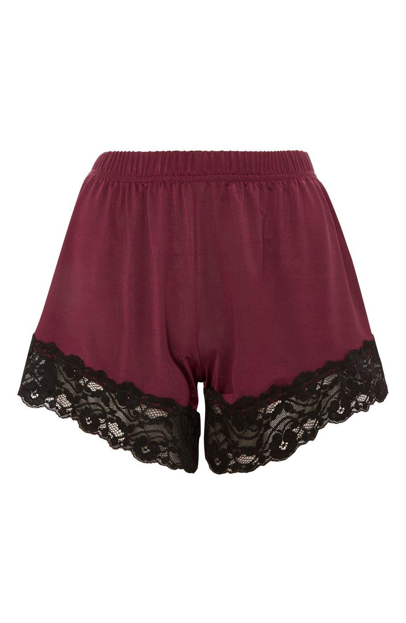 Jersey Satin & Lace Short Pajama Shorts,                             Alternate thumbnail 4, color,                             Berry Multi