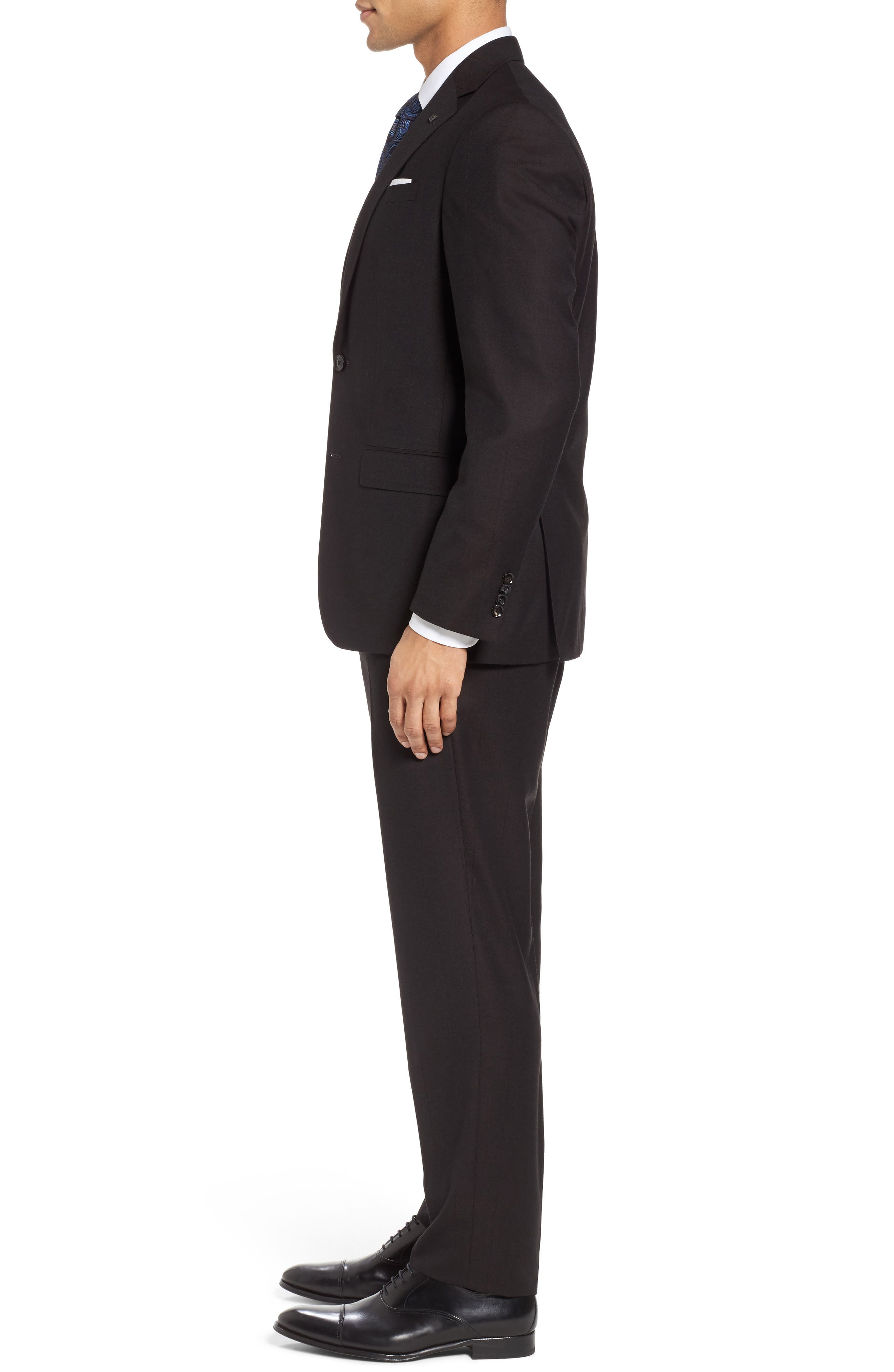 Jay Trim Fit Solid Wool Suit,                             Alternate thumbnail 3, color,                             Brown