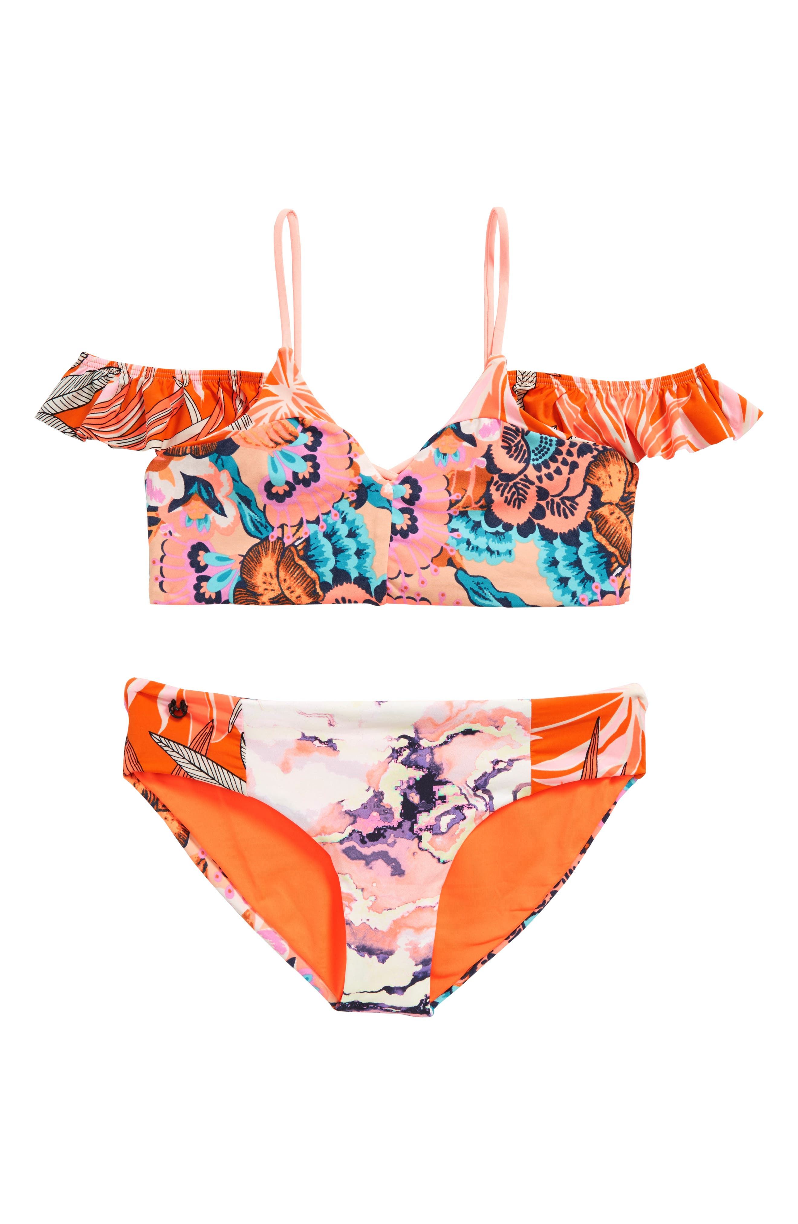 Tropic Cay Two-Piece Reversible Swimsuit,                             Main thumbnail 1, color,                             Pink
