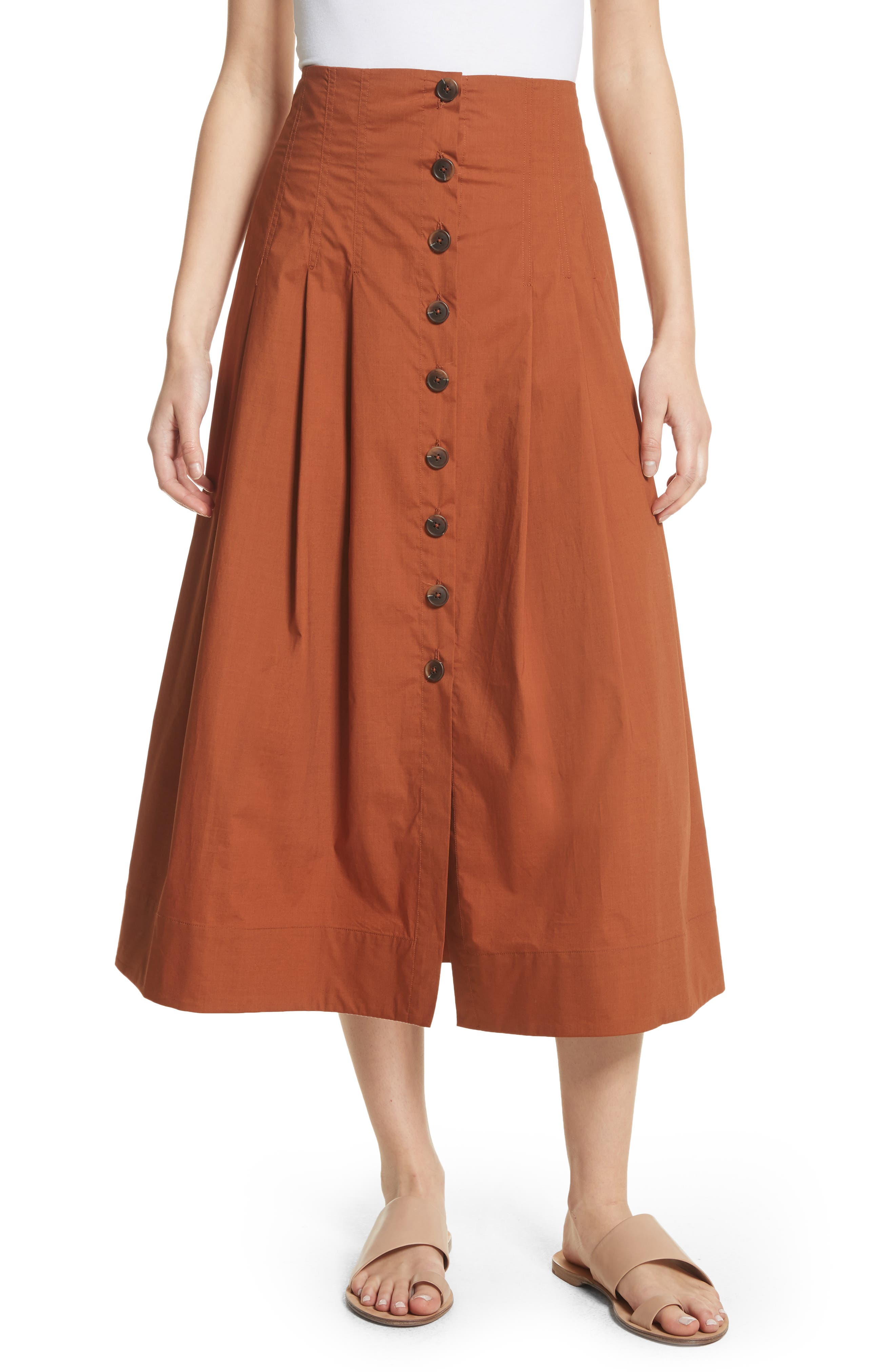 Azalia Button Front Poplin Midi Skirt,                             Main thumbnail 1, color,                             Walnut