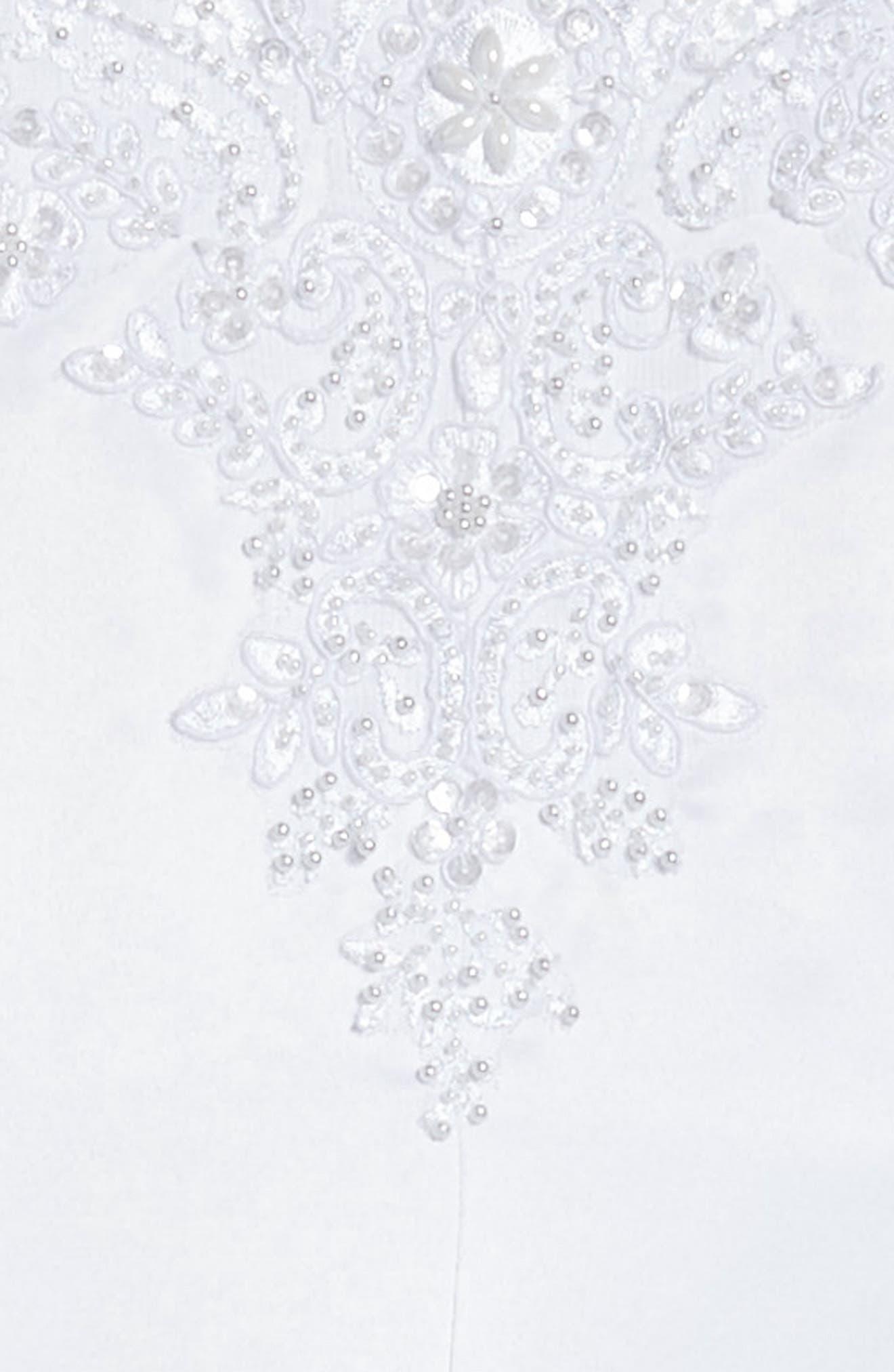 Embroidered Satin Dress,                             Alternate thumbnail 3, color,                             White