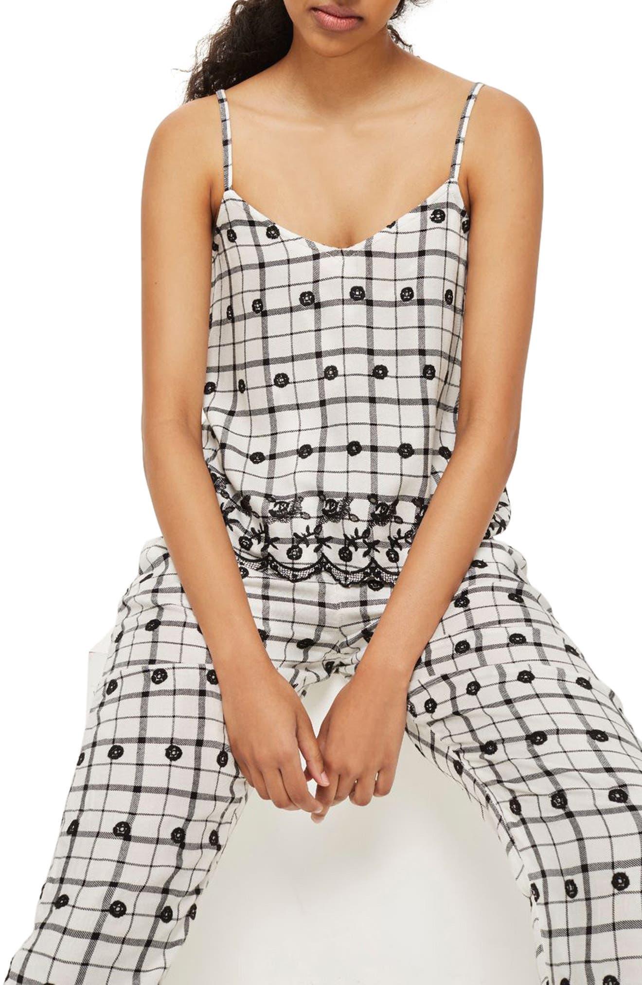 Embroidered Pajama Pants,                             Alternate thumbnail 3, color,                             White Multi
